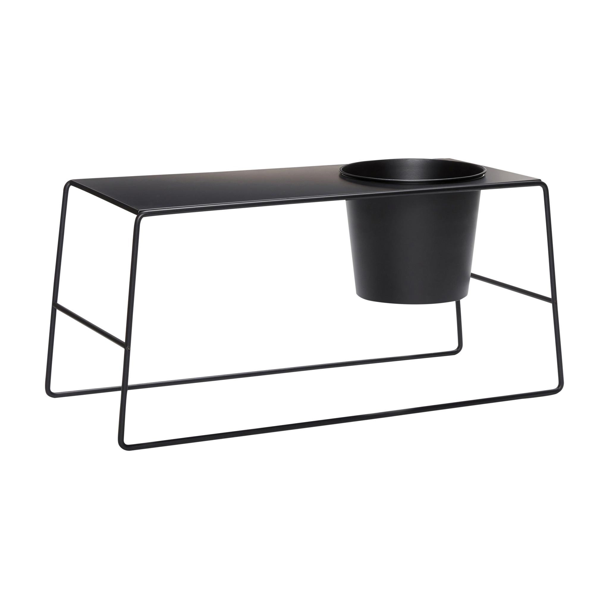 Hubsch Tafel met pot, zwart, metaal