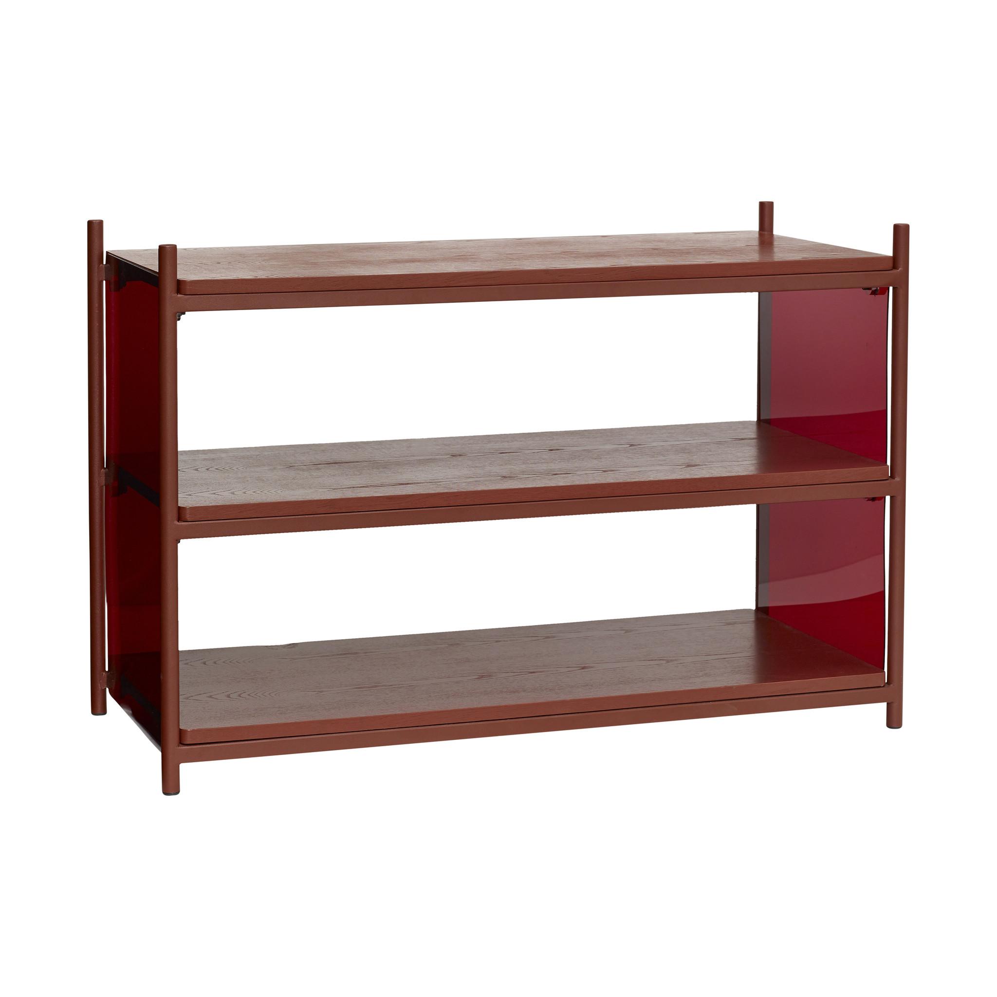 Hubsch Plank met 3 planken, acryl / essen, rood