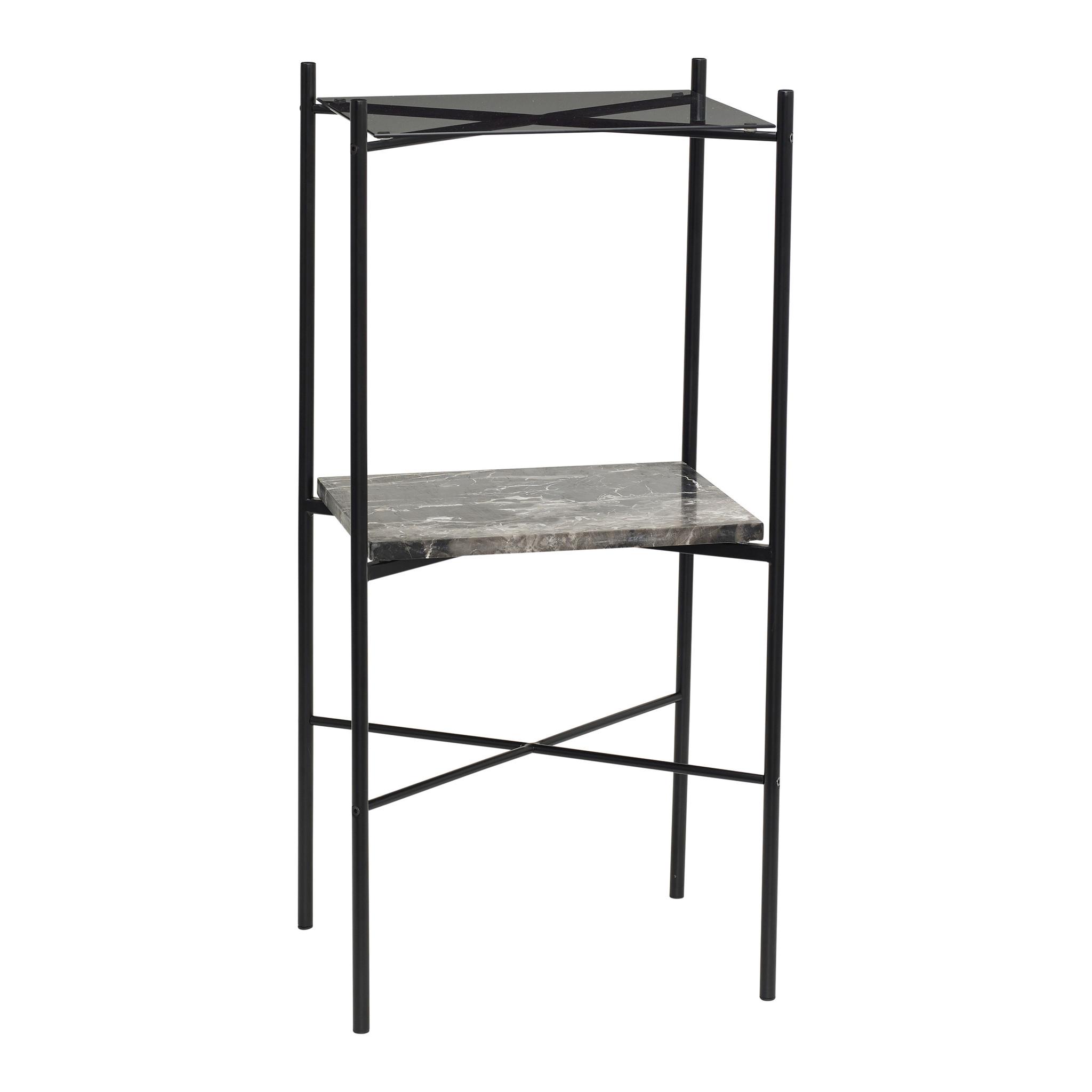 Hubsch Tafel, metaal / marmer / glas, zwart-20806-5712772070116
