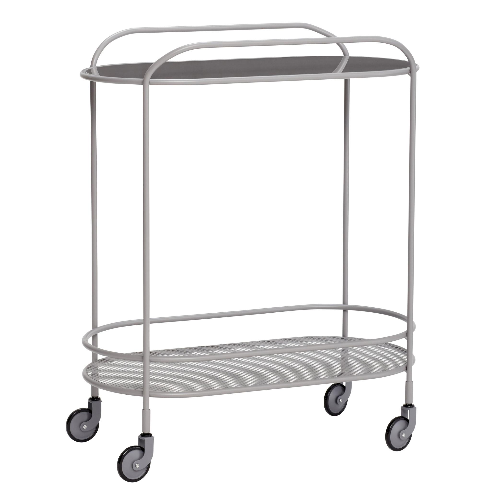 Hubsch Trolley, spiegel / metaal, grijs-20904-5712772070154