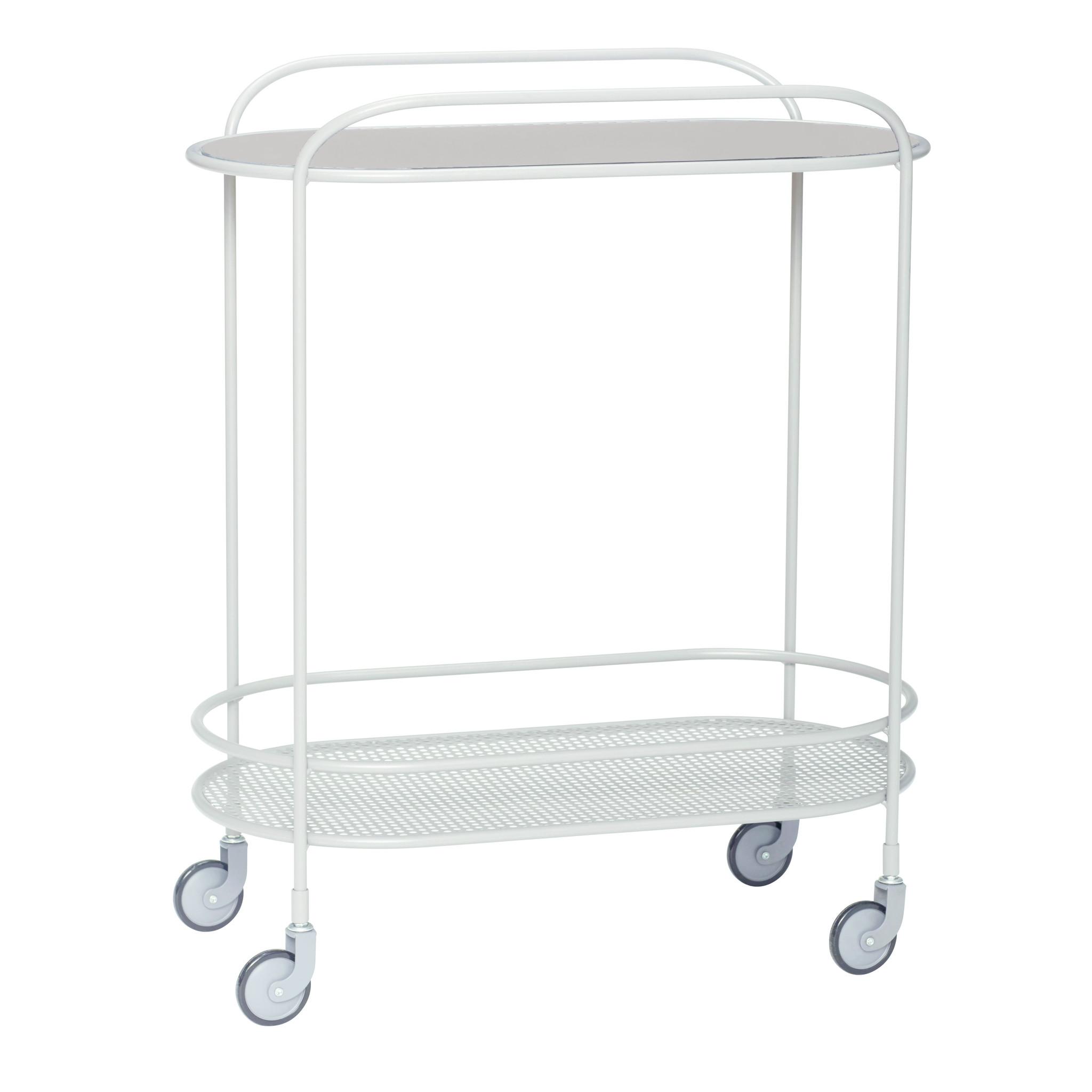Hubsch Trolley, glaset van metaal, grijs