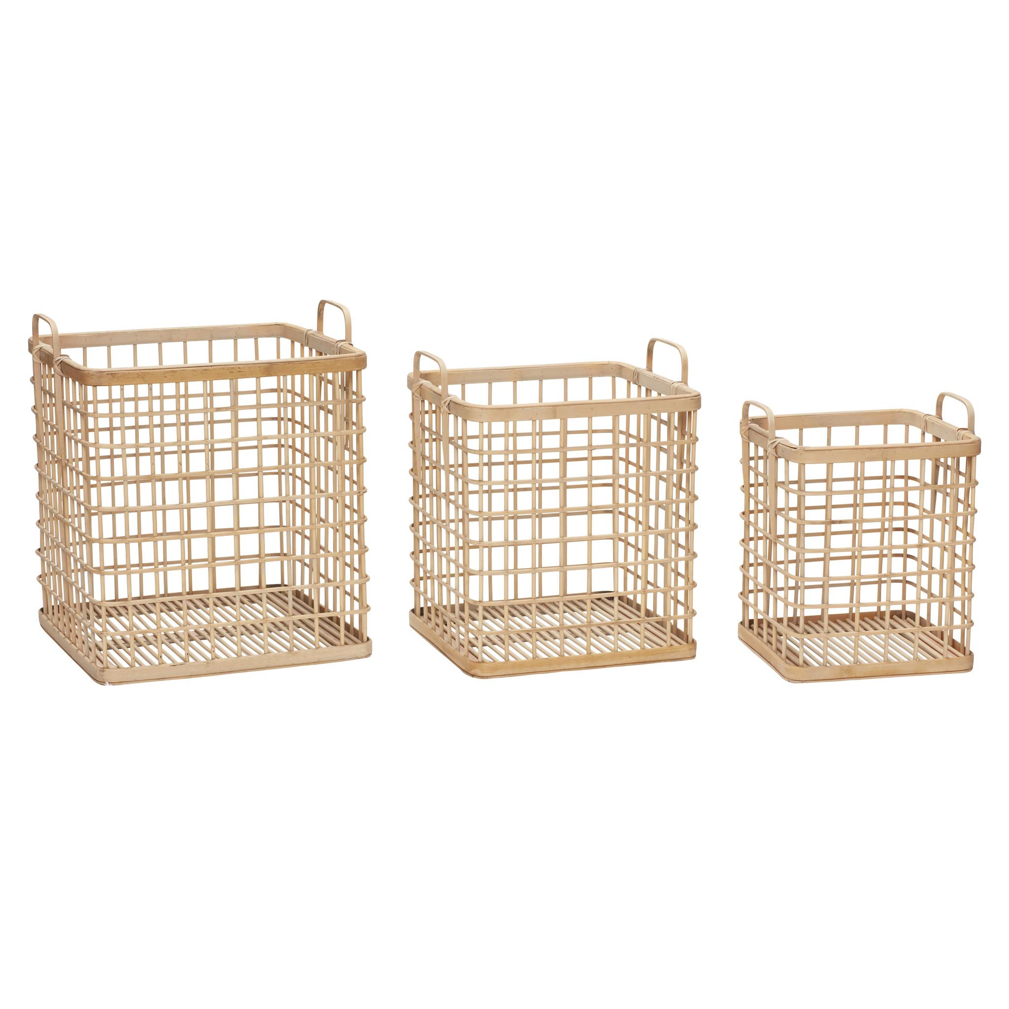 Hubsch Mand met handvat, vierkant, bamboe, natuur, set van 3-30407-5712772058220