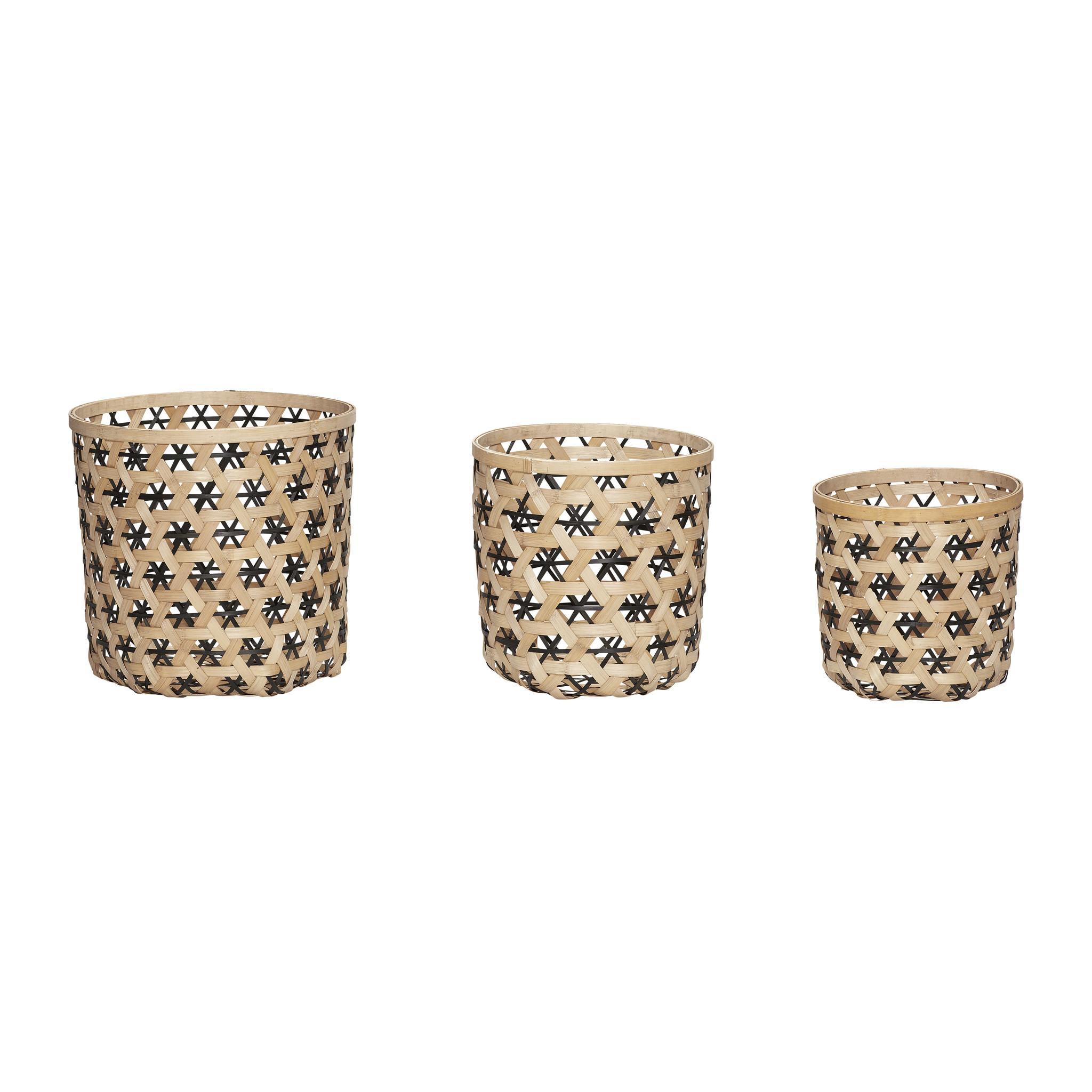 Hubsch Mand, rond, bamboe, natuur / zwart, set van 3-30601-5712772058237