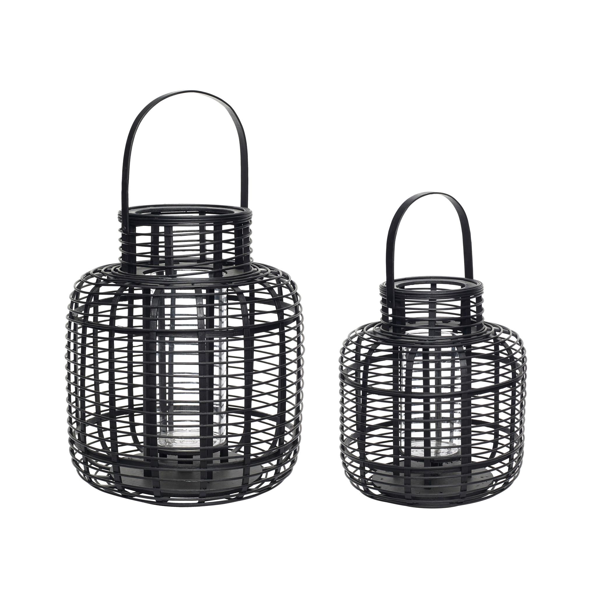 Hubsch Lantaarn, bamboe, zwart, set van 2-30803-5712772064146