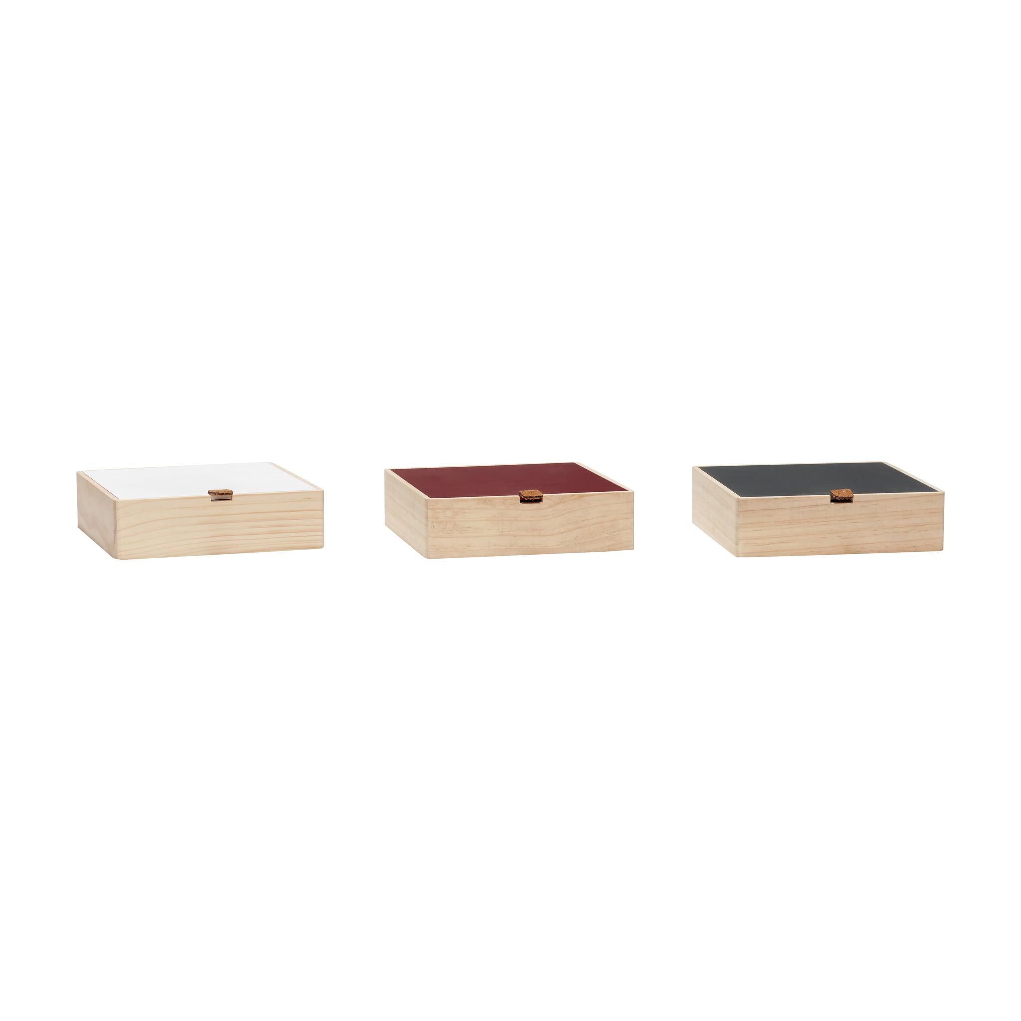Hubsch Opbergbox met deksel, hout, natuur / wit / groen / rood, set van 3-70402-5712772061237
