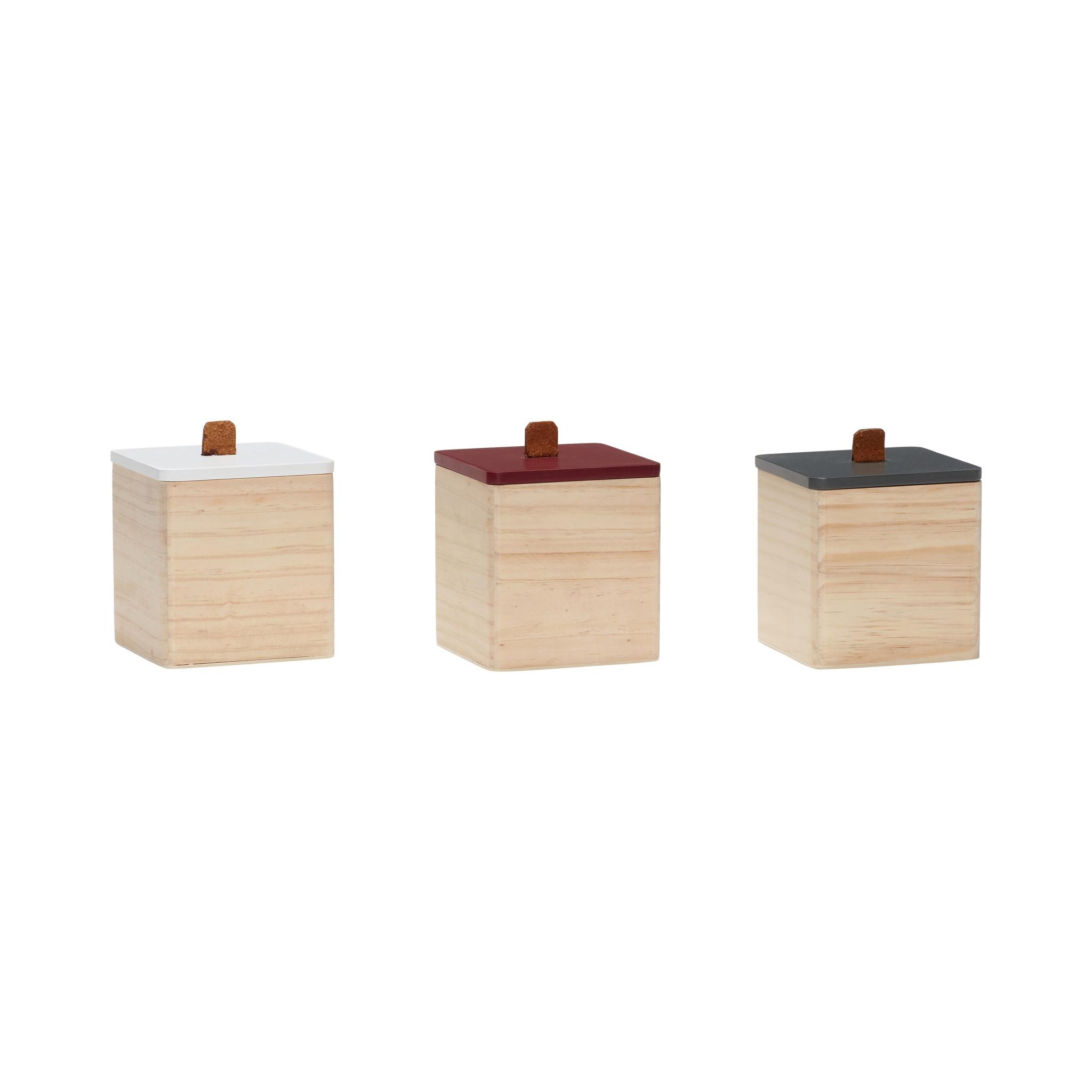 Hubsch Opbergbox met deksel, hout, natuur / wit / groen / rood, set van 3