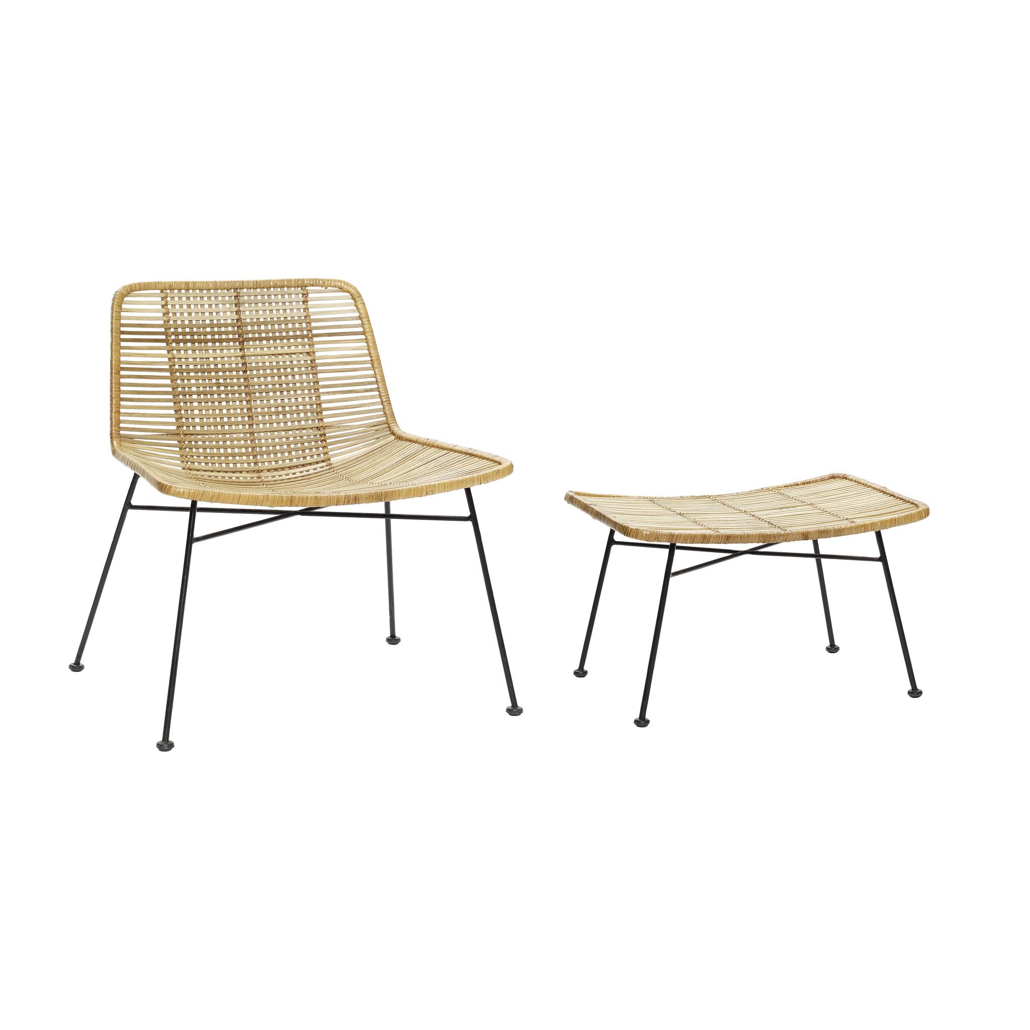 Hubsch Loungestoel met kruk, rotan / metaal, natuur / zwart