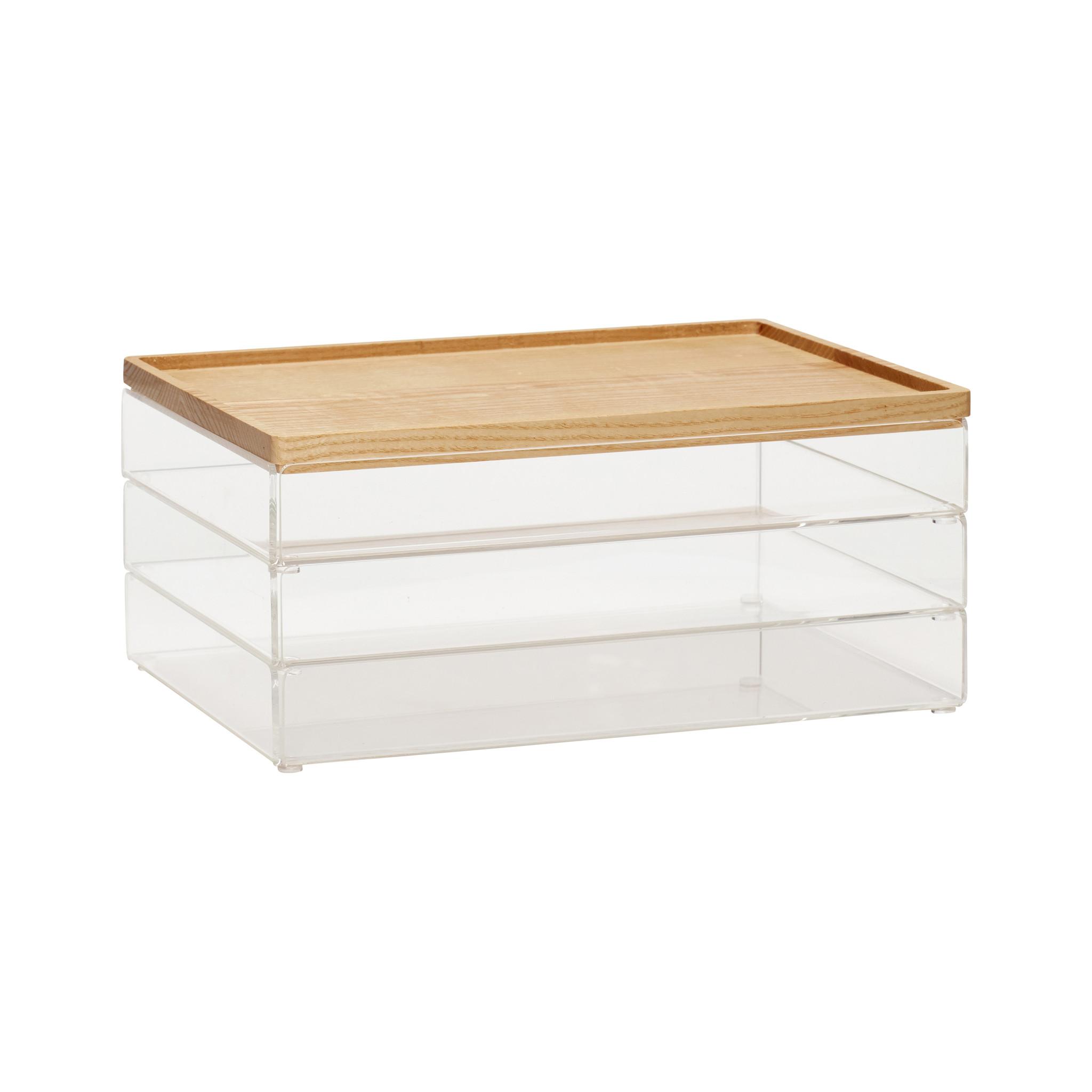 Hubsch Doos met deksel, acryl, transparant / hout, natuur / helder, set van 3-120403-5712772035962