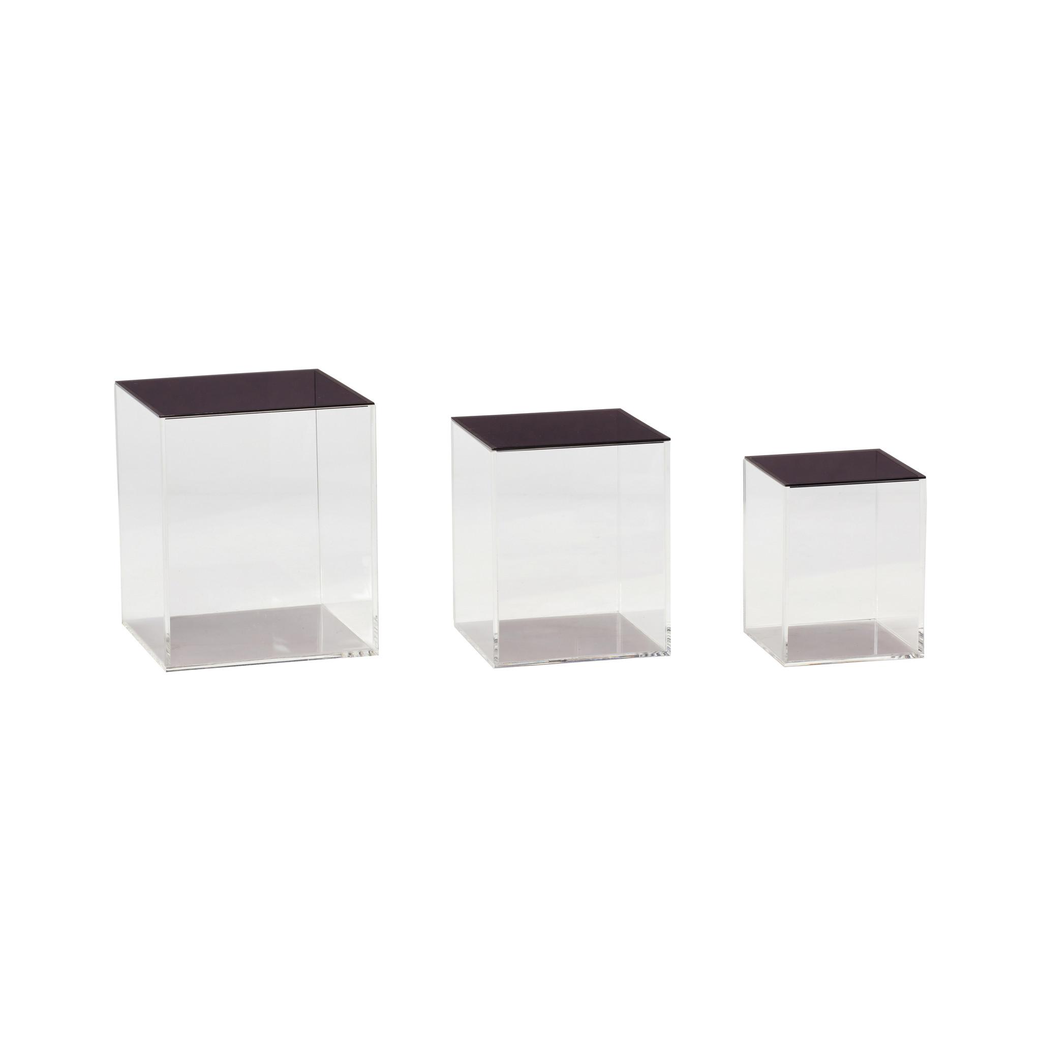 Hubsch Doos met deksel, acryl, transparant / zwart, set van 3-120407-5712772059371