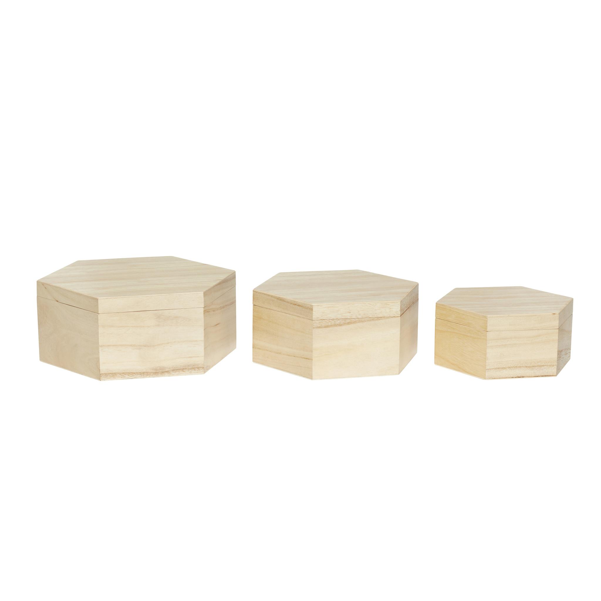 Hubsch Voorraadpot met deksel, hout, natuur, set van 3-130205-5712772059418