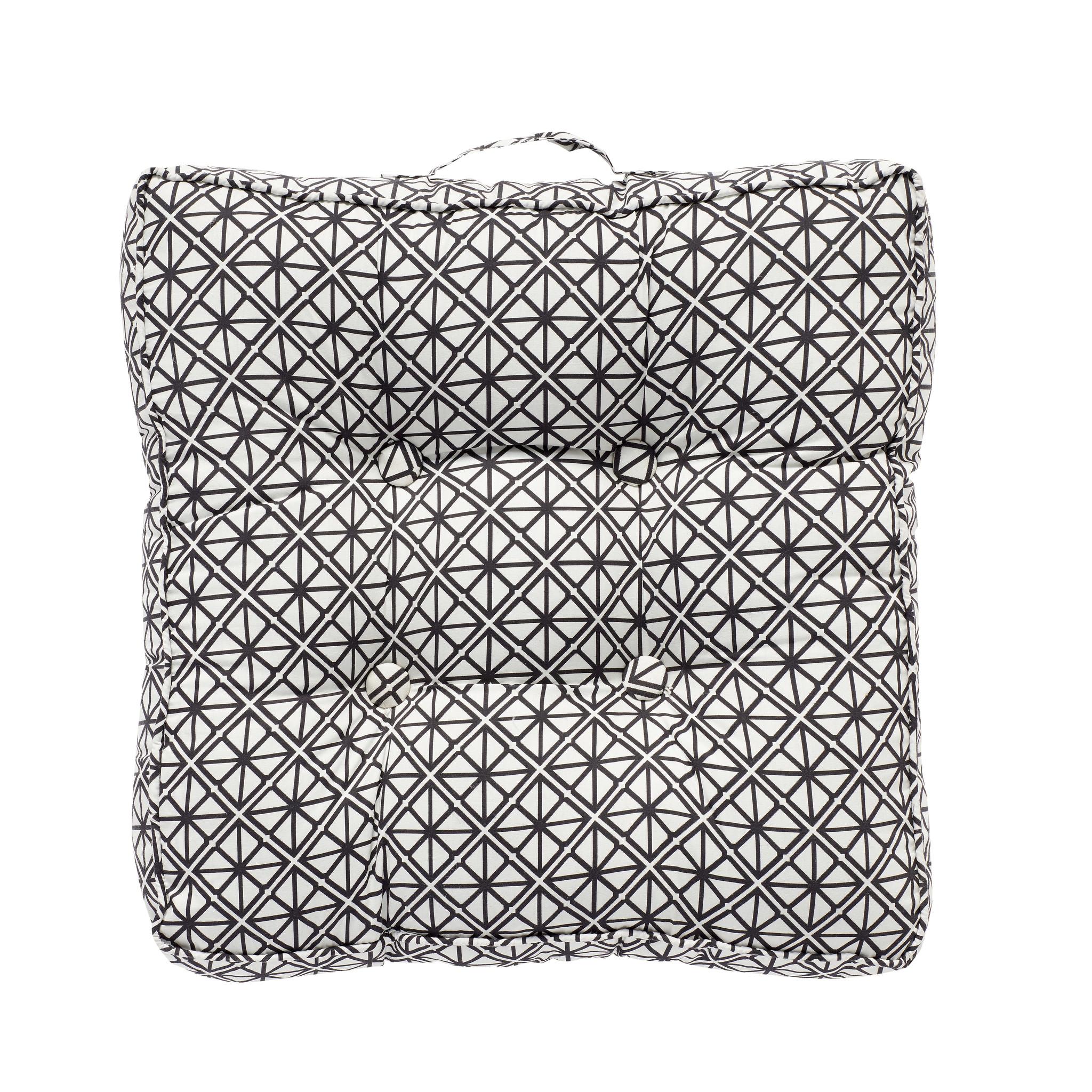 Hubsch Kussen met handvat / patroon / vuller, zwart / wit