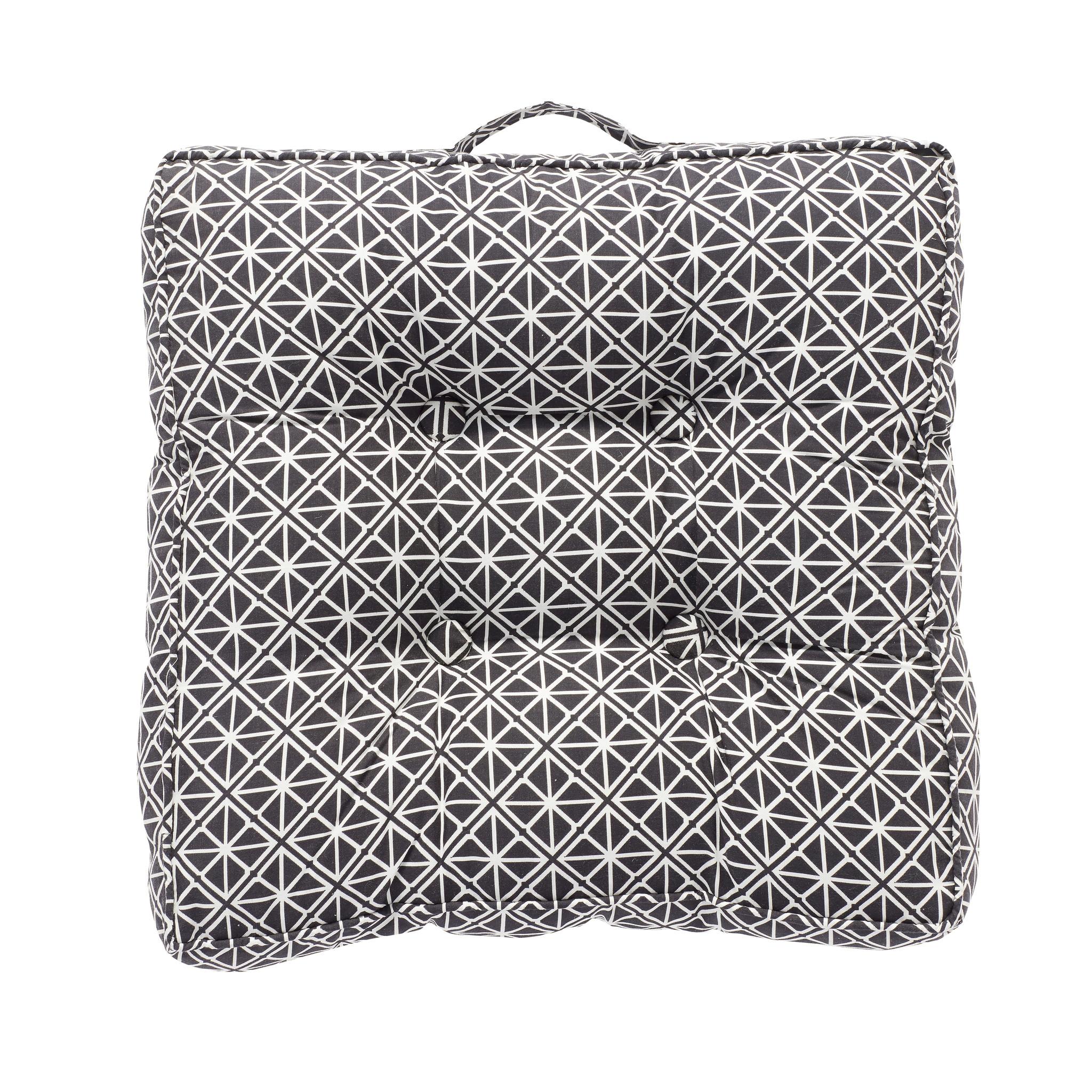 Hubsch Kussen met handvat / patroon, zwart / wit