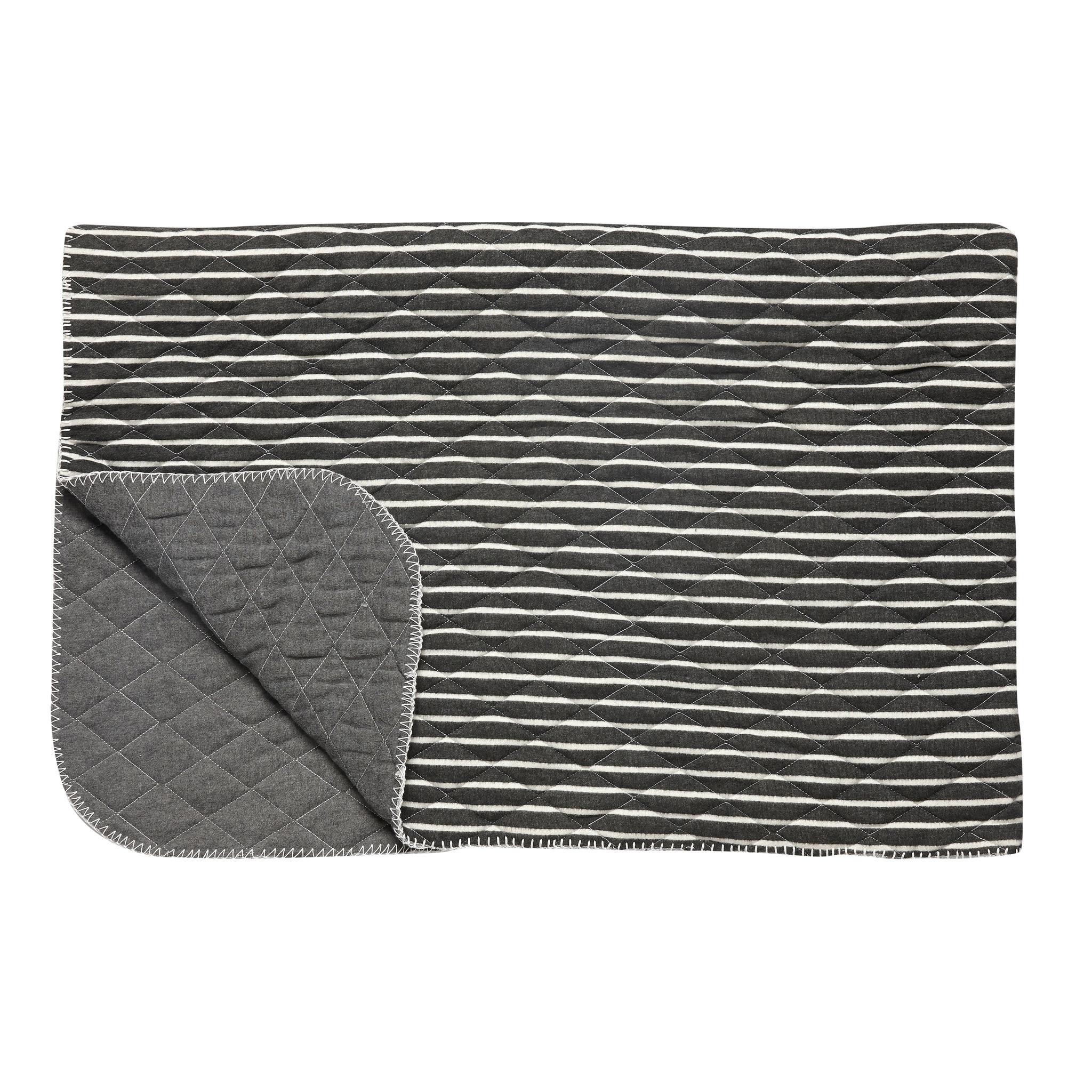 Hubsch Plaid met strepen, polyester, grijset van wit-139044-5712772061183