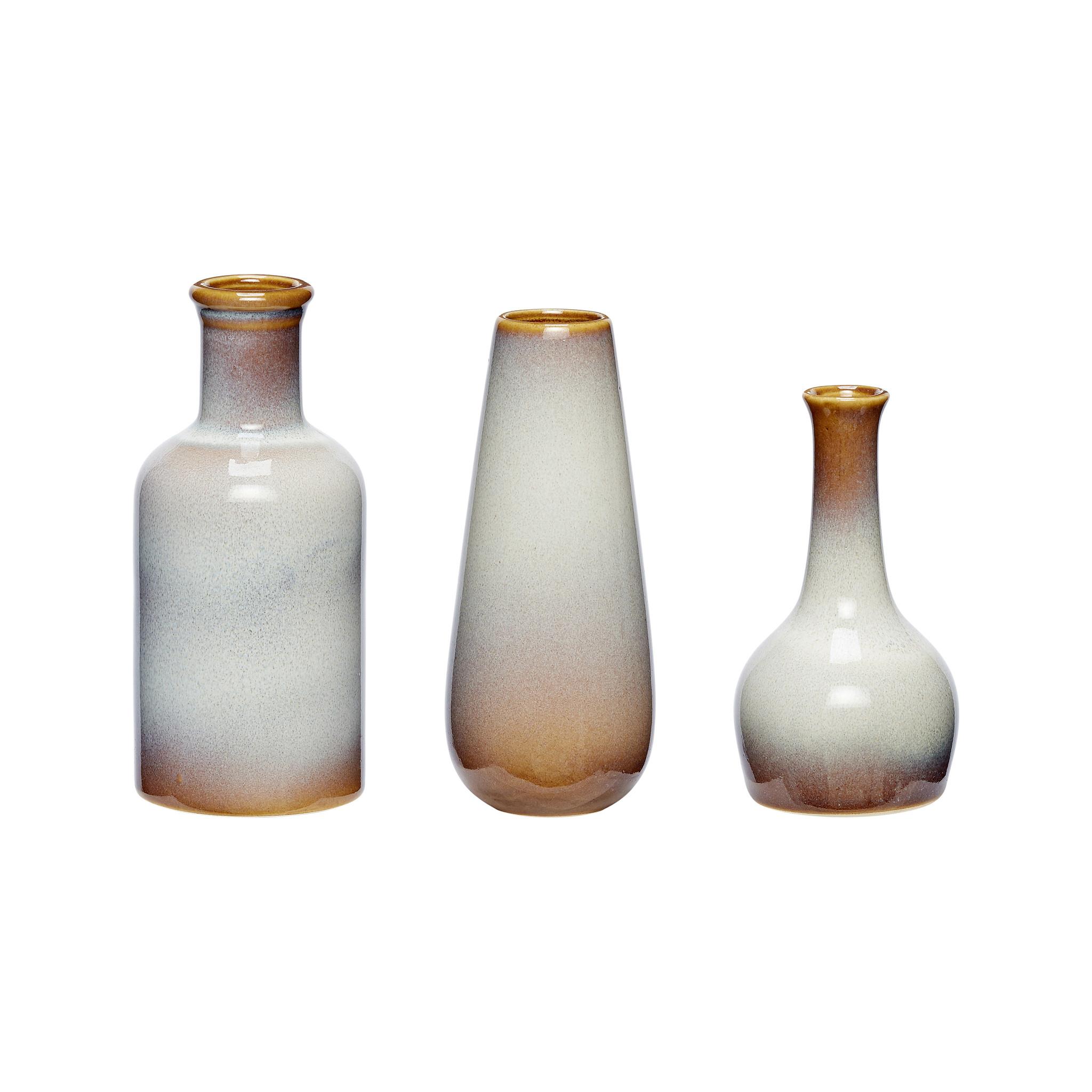 Hubsch Vaas, keramiek, wit / bruin, set van 3-140305-5712772044506