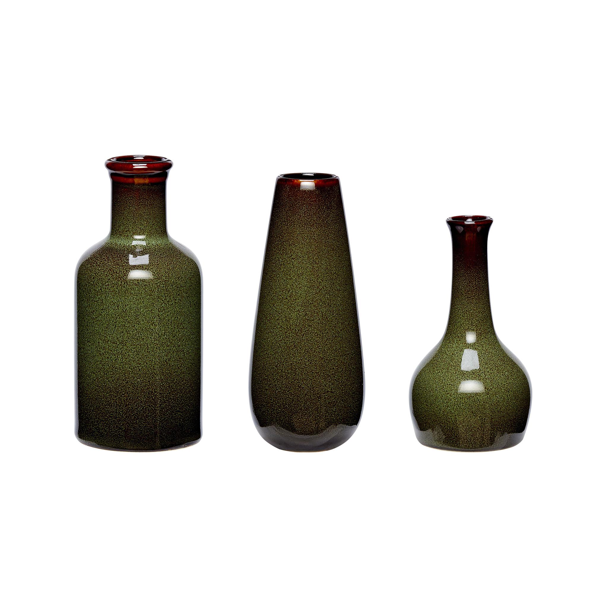 Hubsch Vaas, keramiek, groen, set van 3-140306-5712772044513