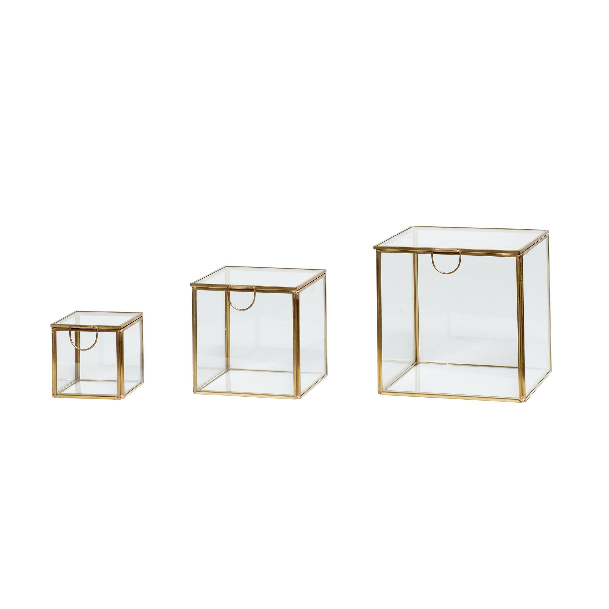 Hubsch Glazen doos, messing / glas, set van 3