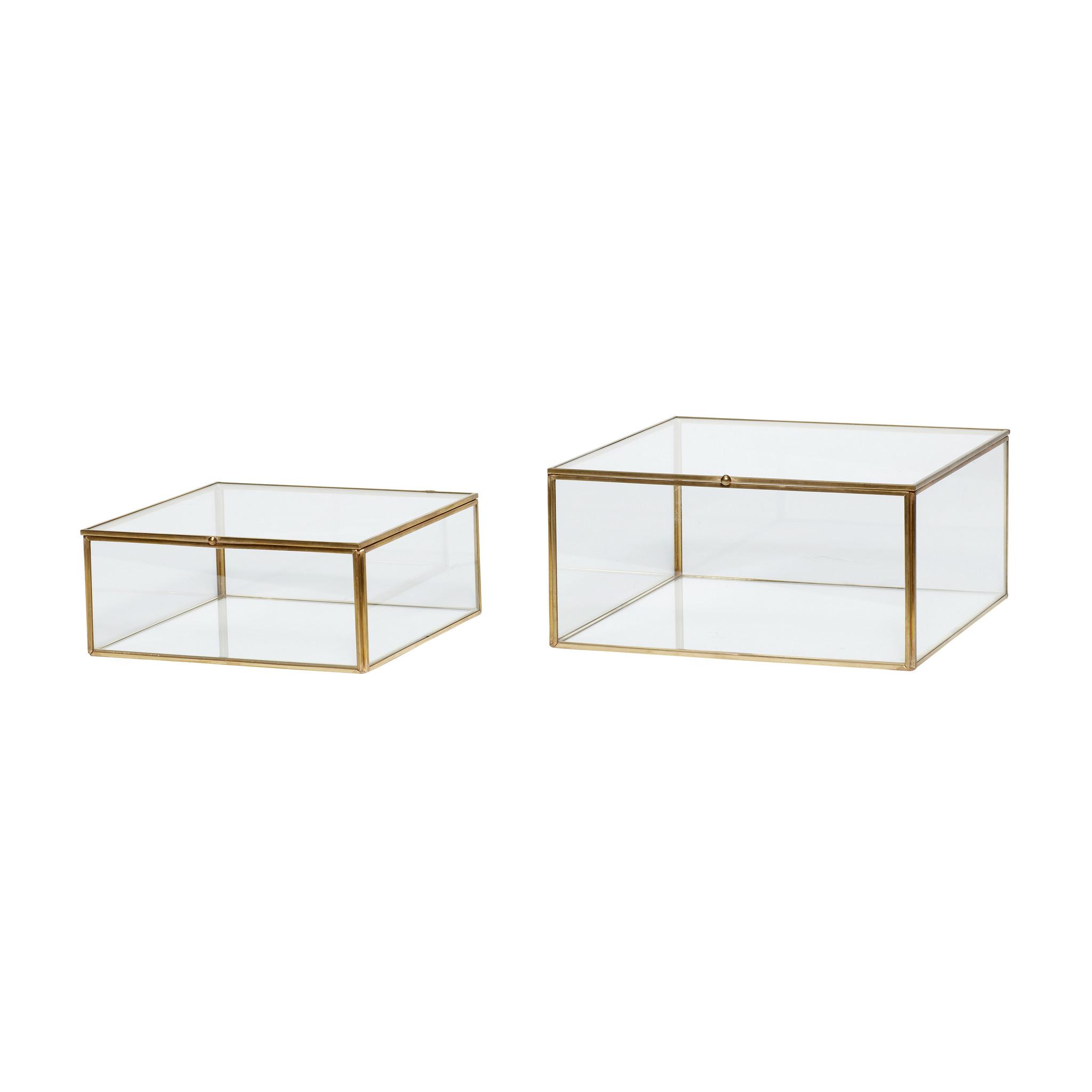 Hubsch Glazen doos, messing / glas, set van 2