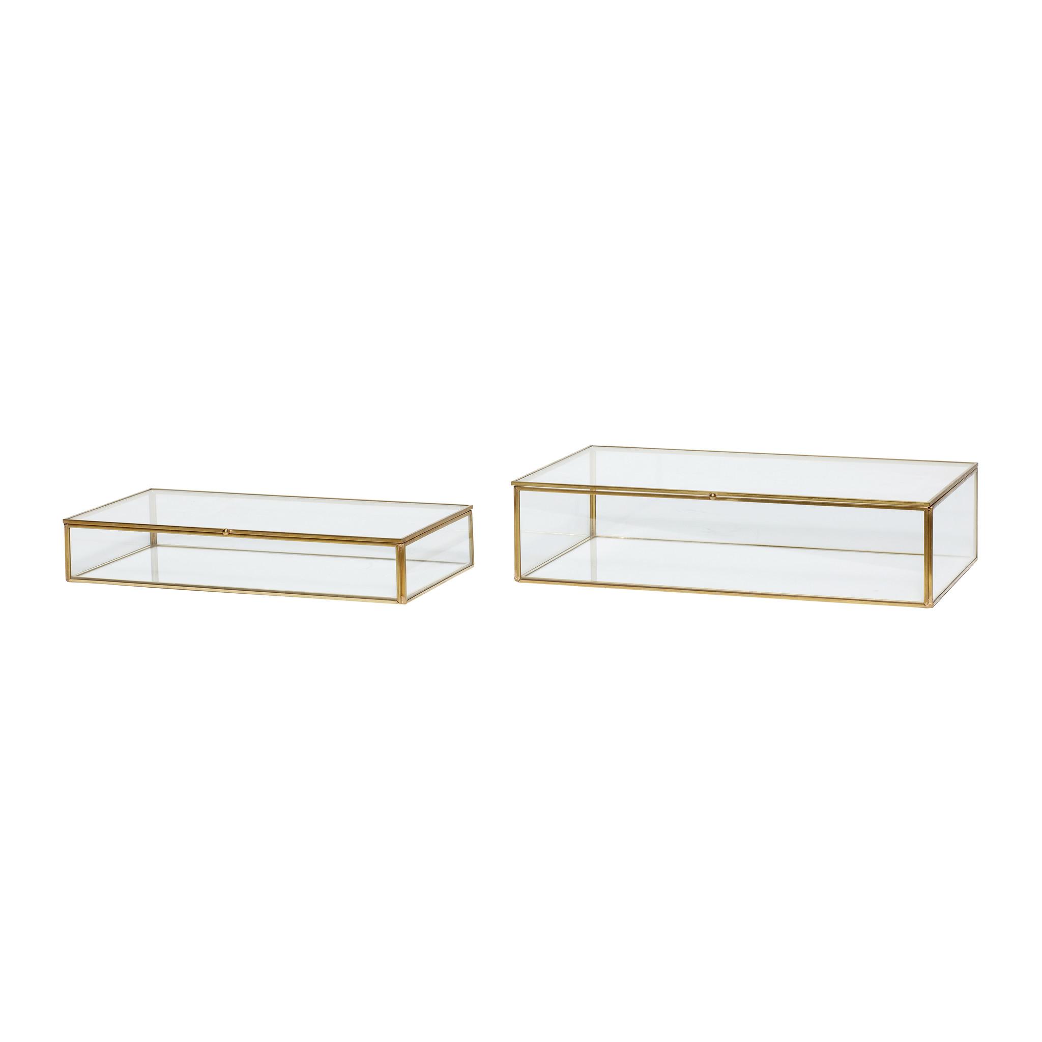Hubsch Glazen doos, messing / glas, set van 2-150203-5712772055649