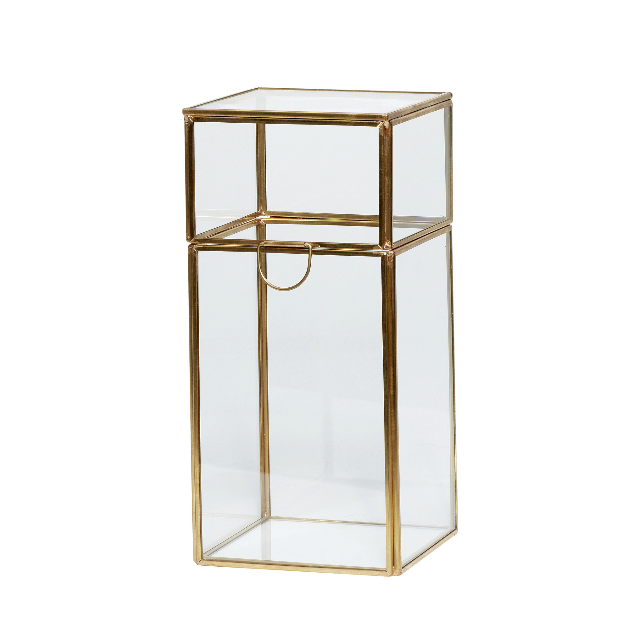 Hubsch Glazen doos, messing / glas, groot