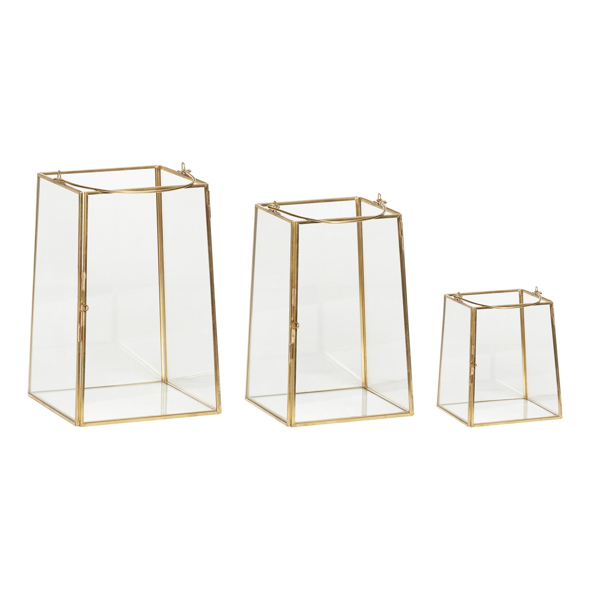 Hubsch Lantaarn, messing / glas, set van 3-150606-5712772051214