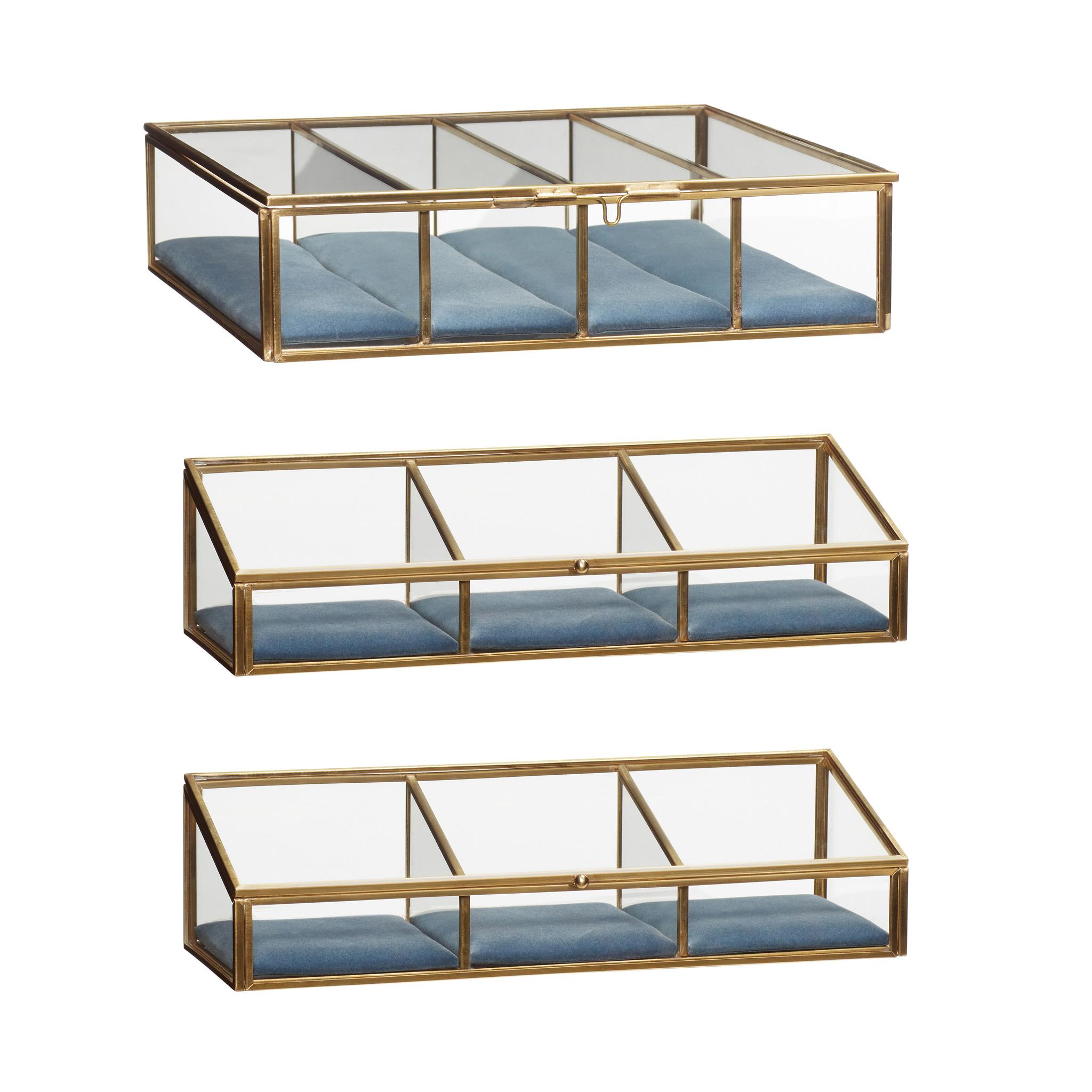 Hubsch Glazen doos, messing / glas, blauw, set van 3