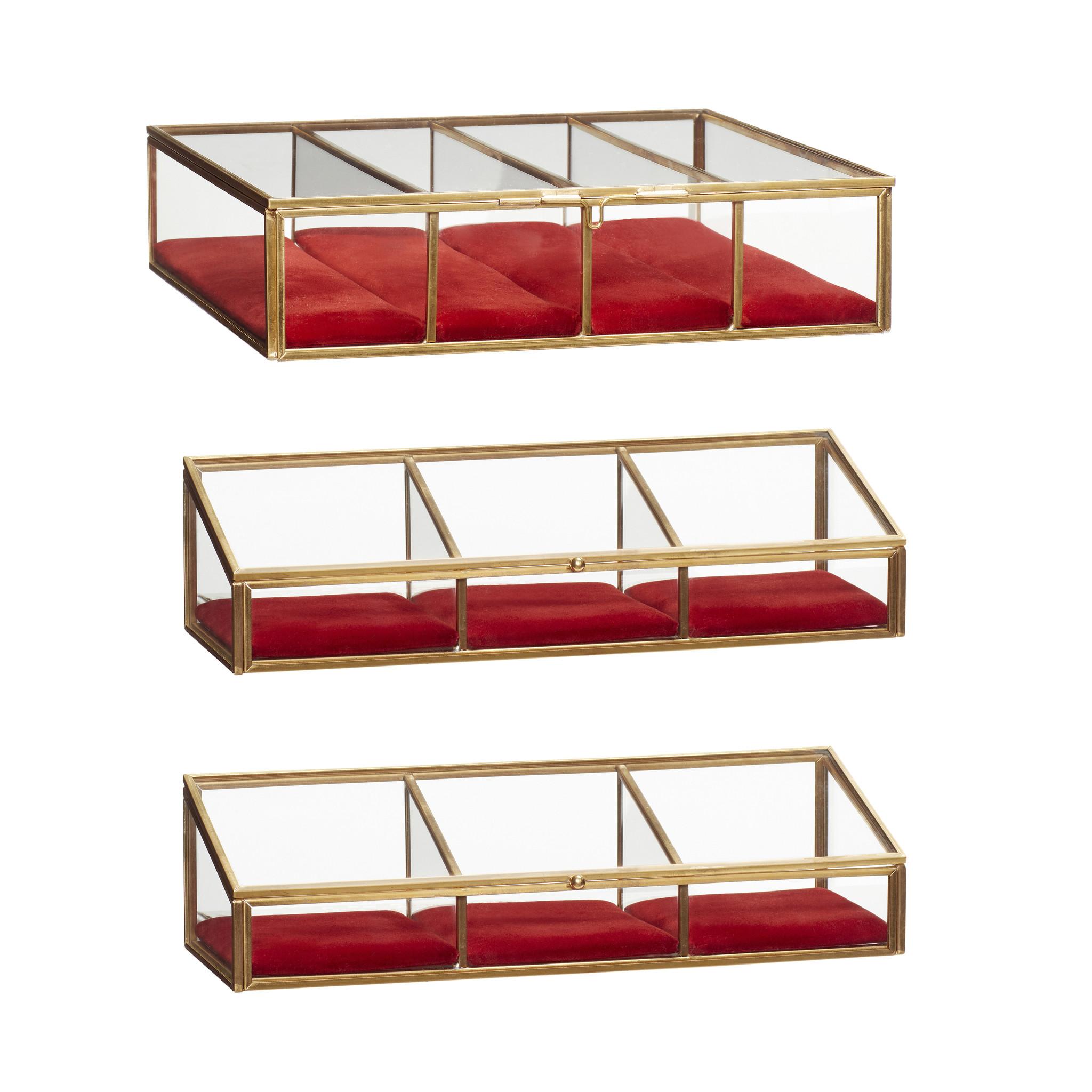 Hubsch Glazen doos, messing / glas, rood, set van 3-150702-5712772064214