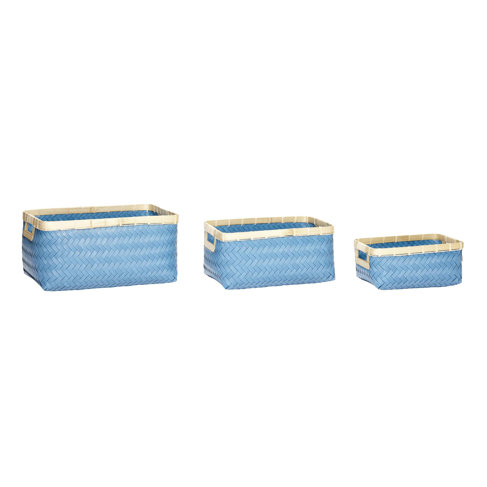 Hubsch Mand, polyrattan / bamboe, blauw / natuur, set van 3