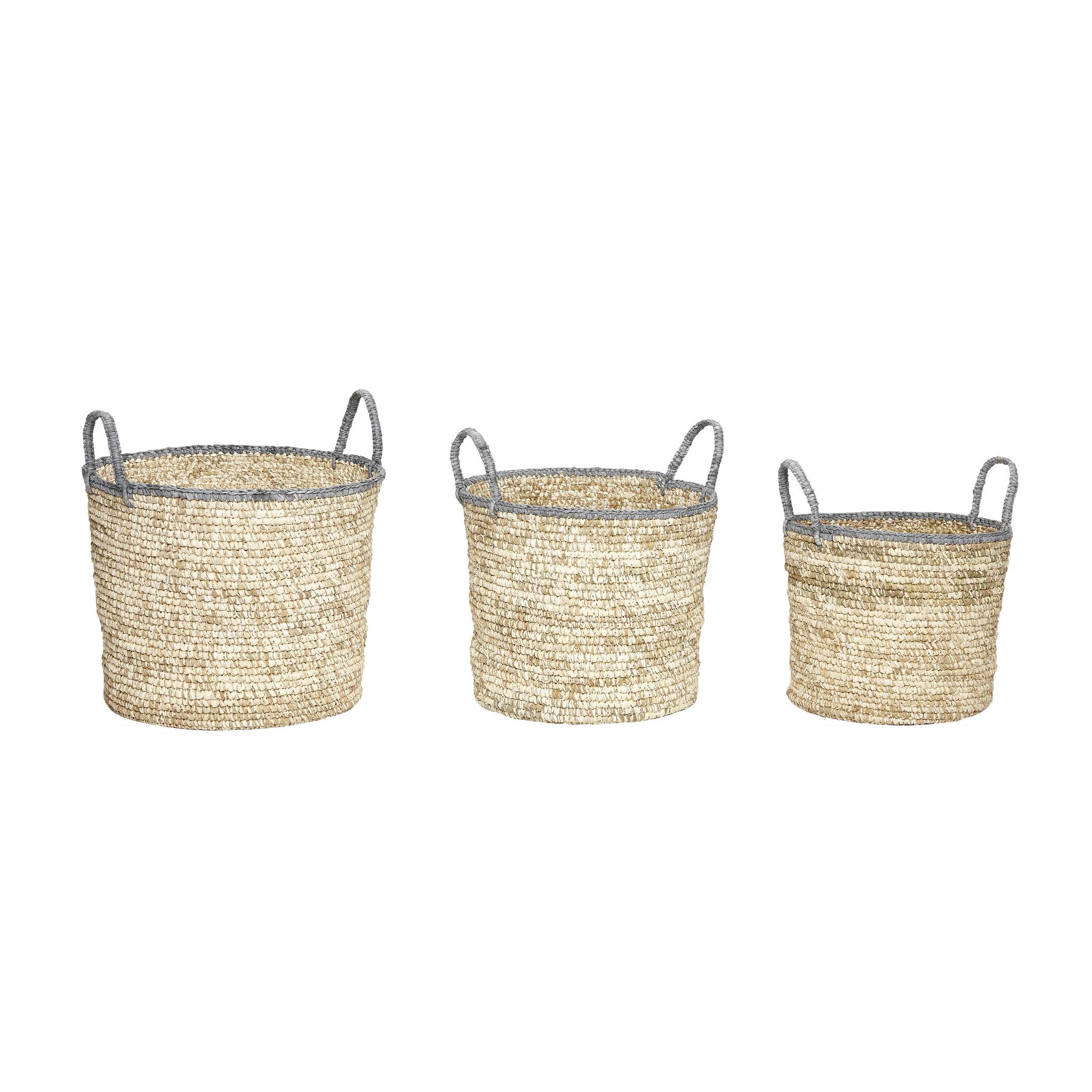 Hubsch Basket, gajih, natuur, set van 3-170114-5712772047255