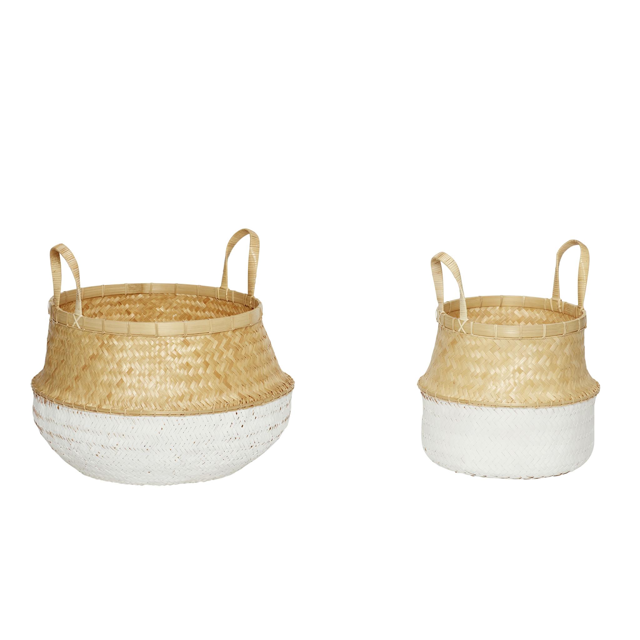Hubsch Mand met witte bodem, bamboe, wit / natuur, set van 2-170502-5712772058183