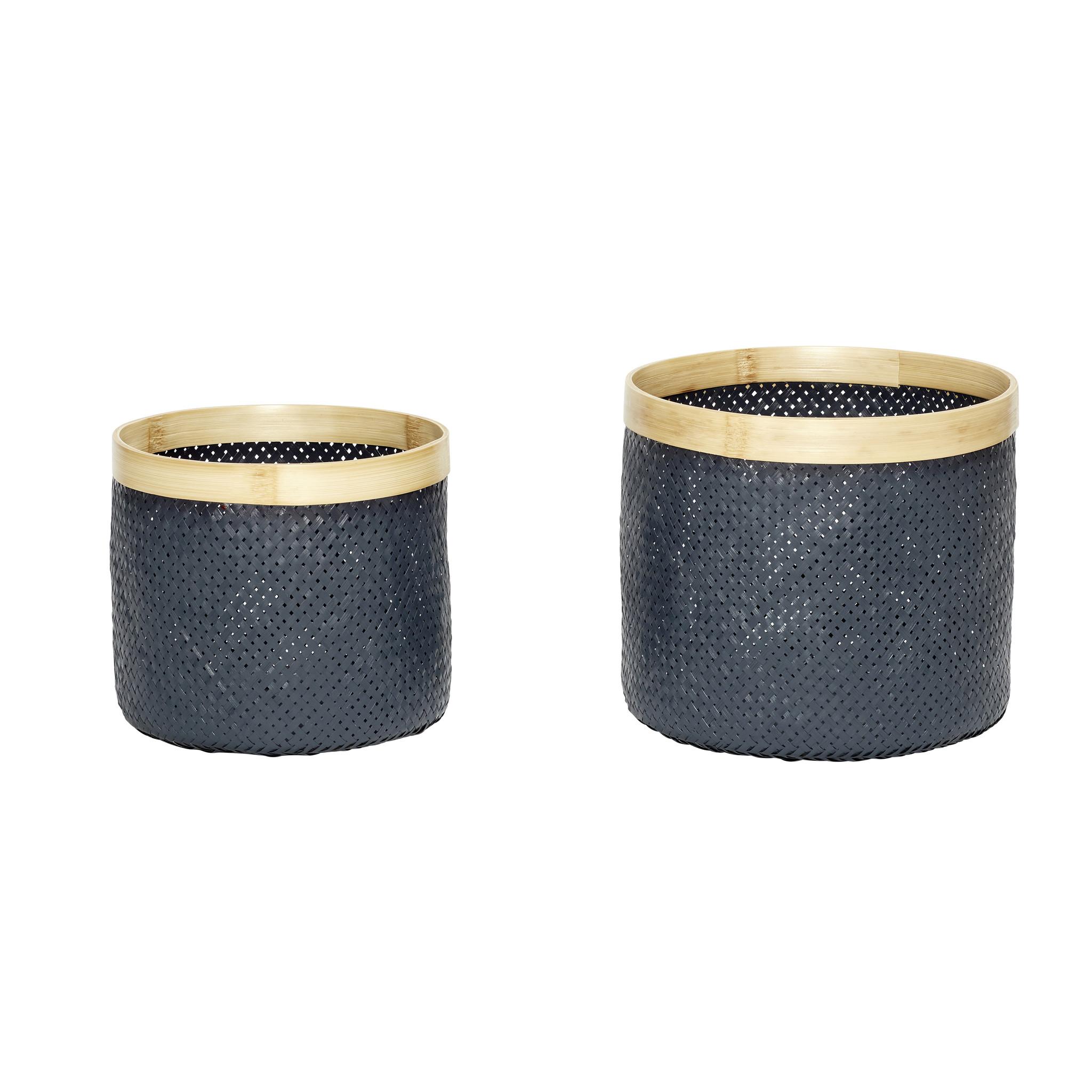 Hubsch Mand, bamboe, grijset van natuur, set van 2-170504-5712772058206