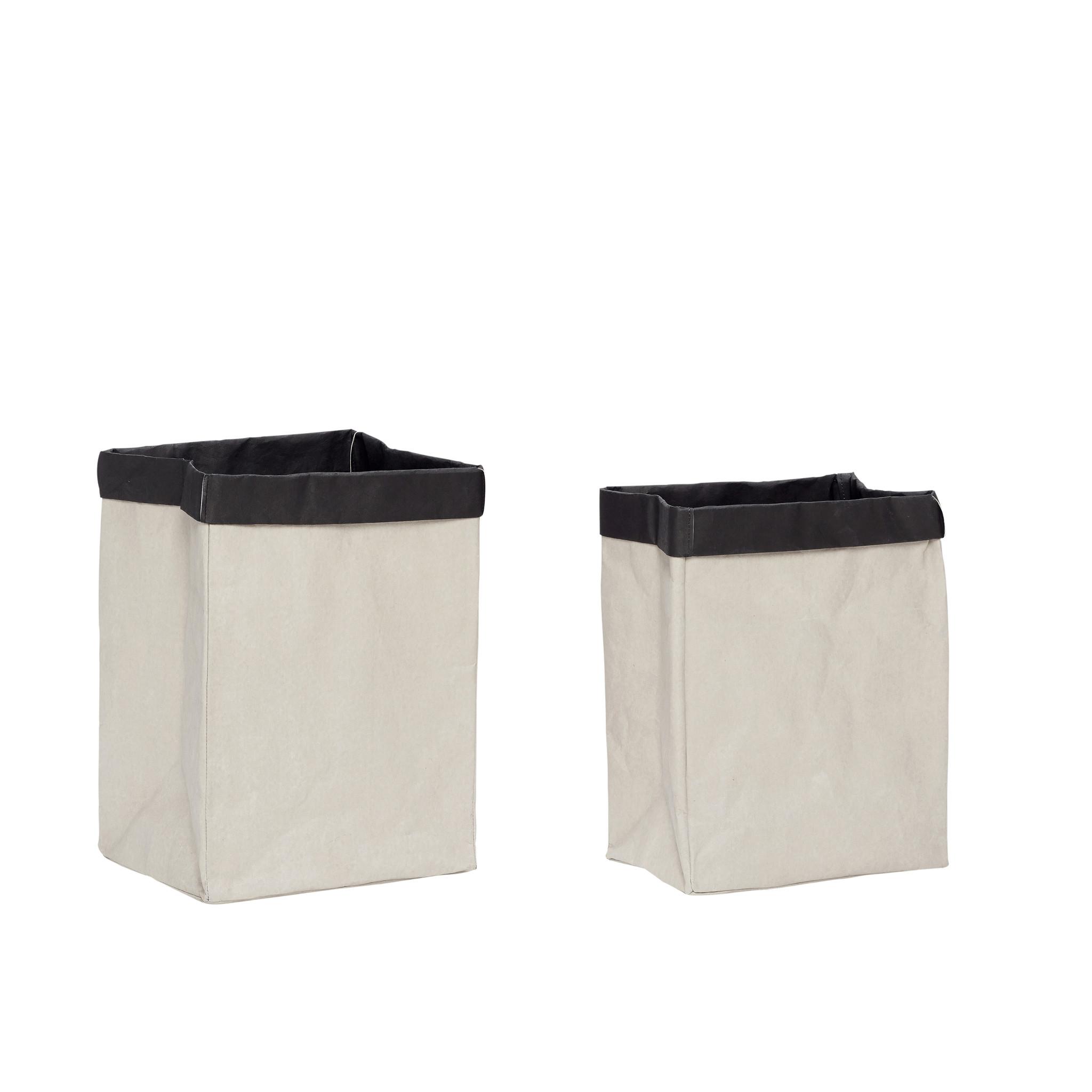 Hubsch Wasmand, vierkant, wasbaar papier, grijset van zwart, set van 2-180503-5712772067963