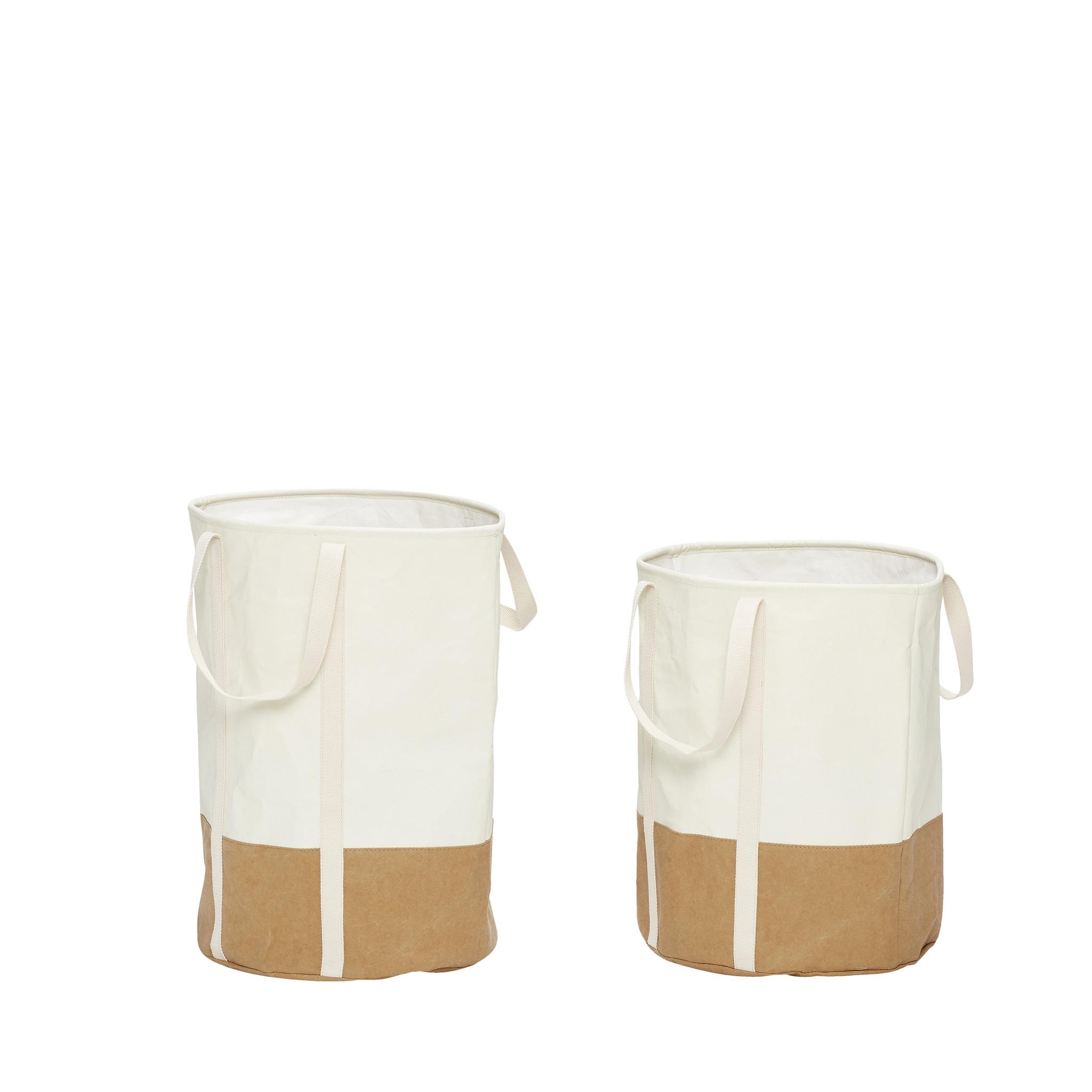 Hubsch Wasmand, rond, wasbaar papier, wit / bruin, set van 2-180505-5712772036051
