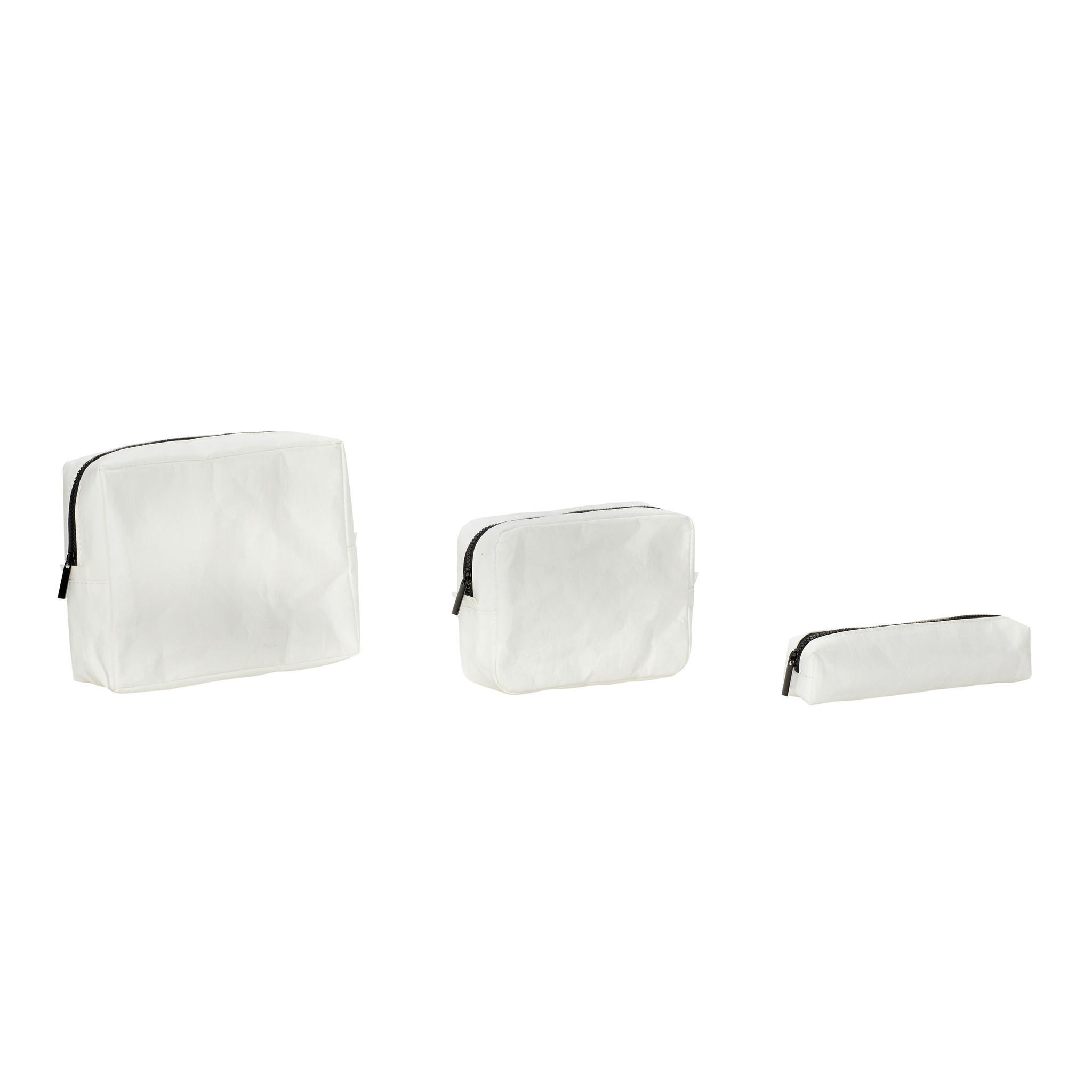Hubsch Etui, vierkant, wasbaar papier, wit, set van 3