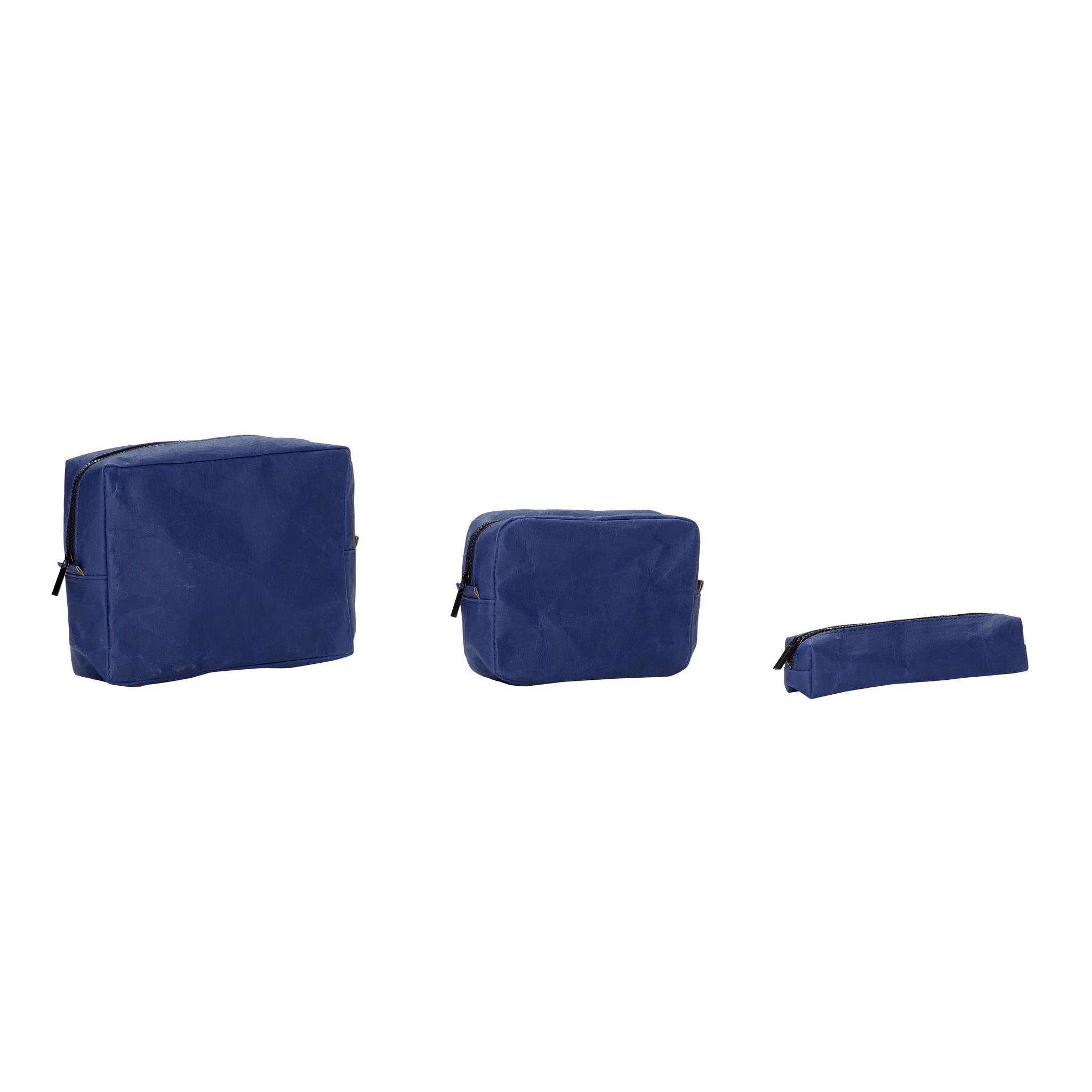 Hubsch Etui, vierkant, wasbaar papier, blauw, set van 3-180508-5712772061466