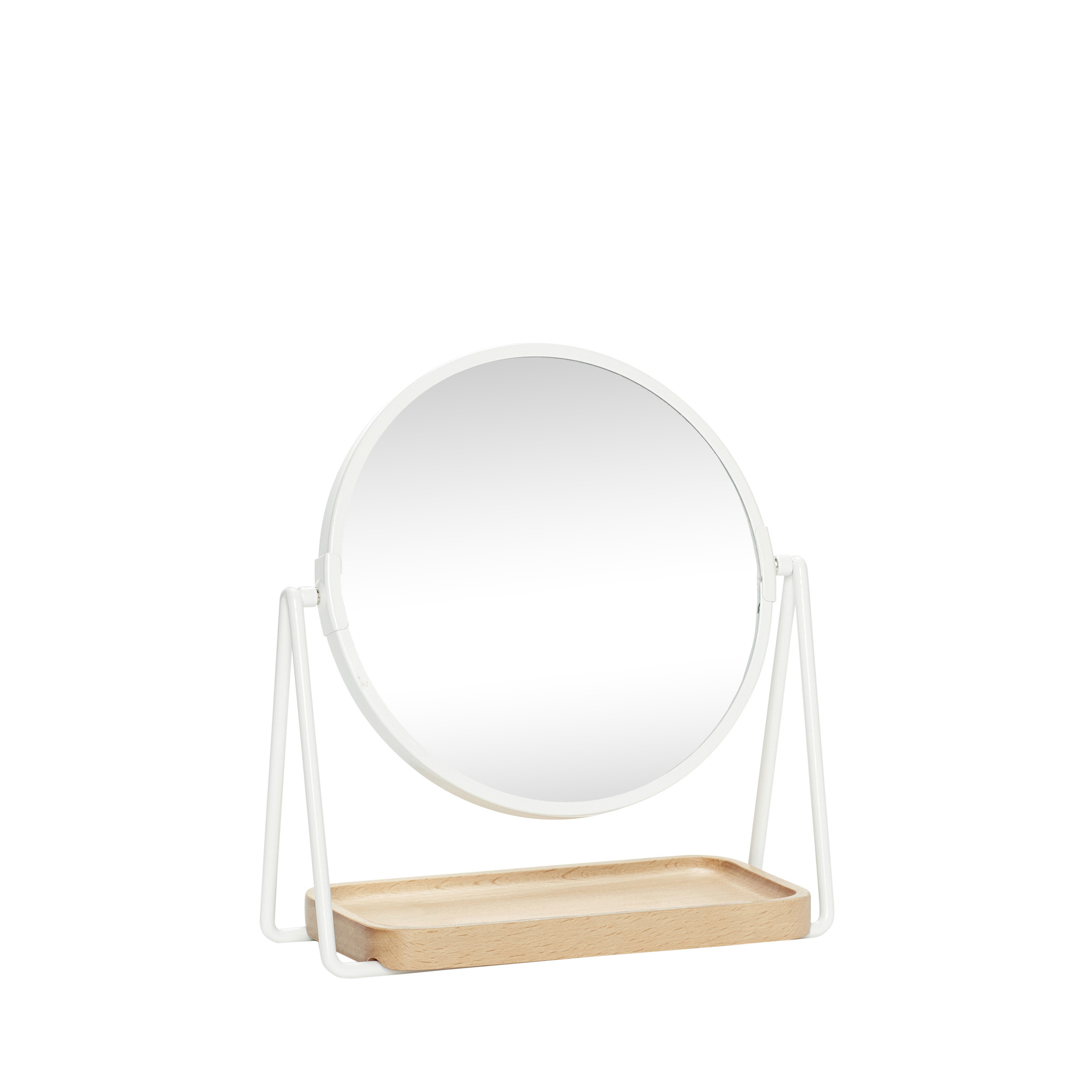 Hubsch Tafelspiegel met dienblad, rond, hout / metaal / glas, wit