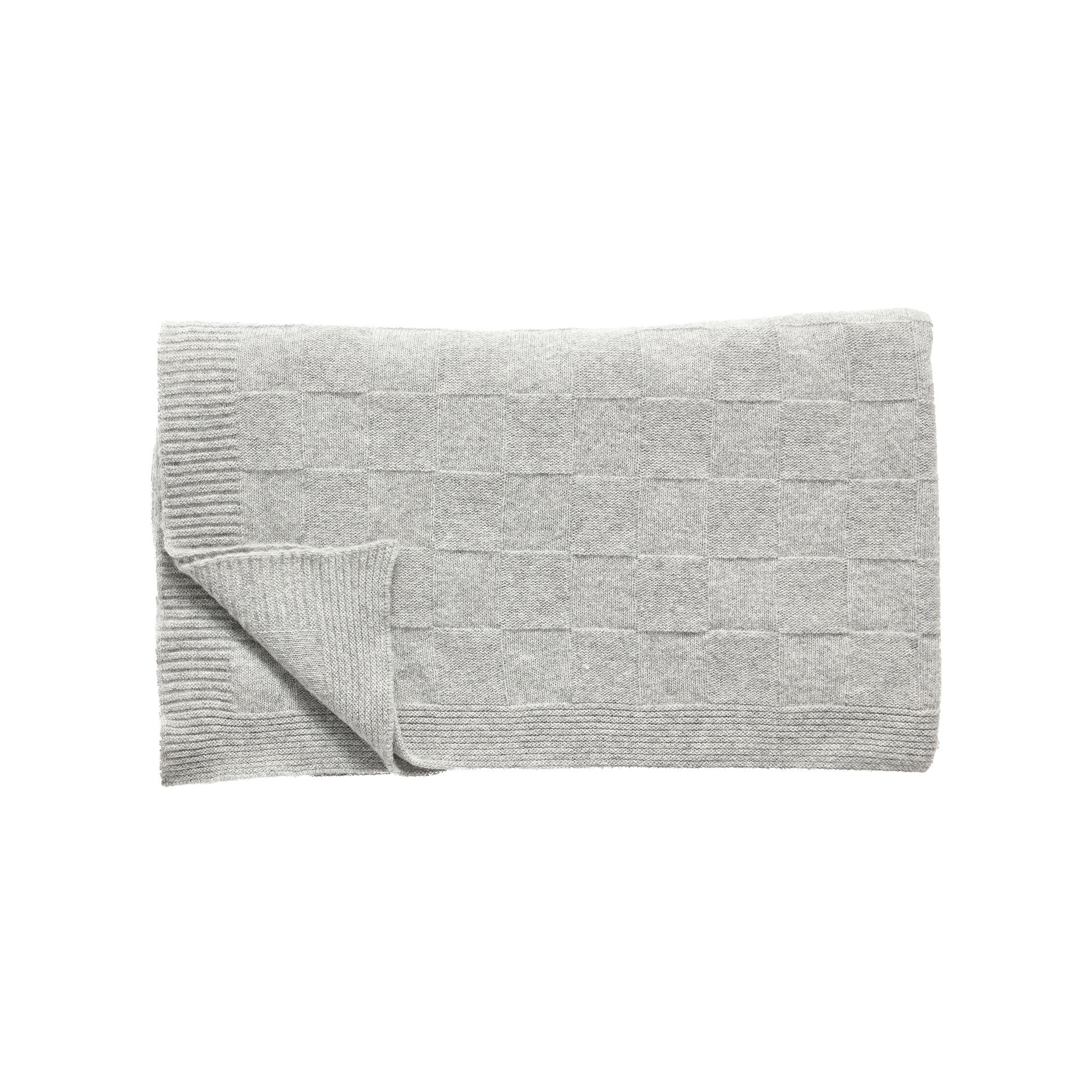 Hubsch Plaid met ruitpatroon, lamswol, lichtgrijs