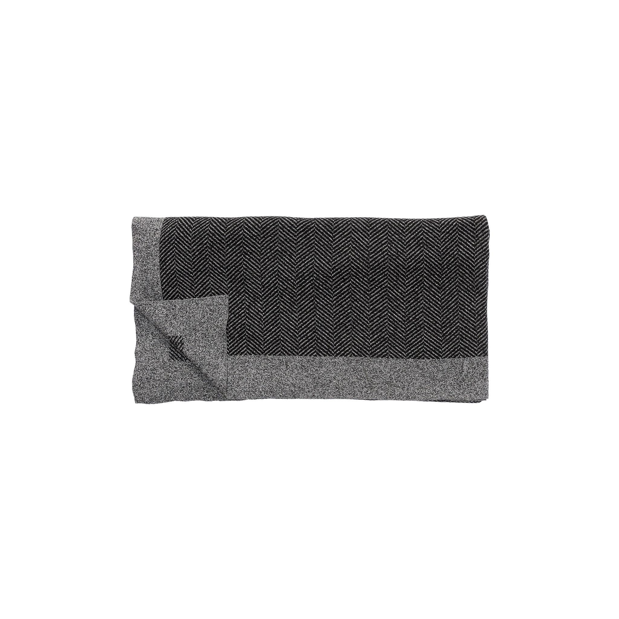Hubsch Plaid met patroon, katoen, zwart / grijs-220310-5712772056691