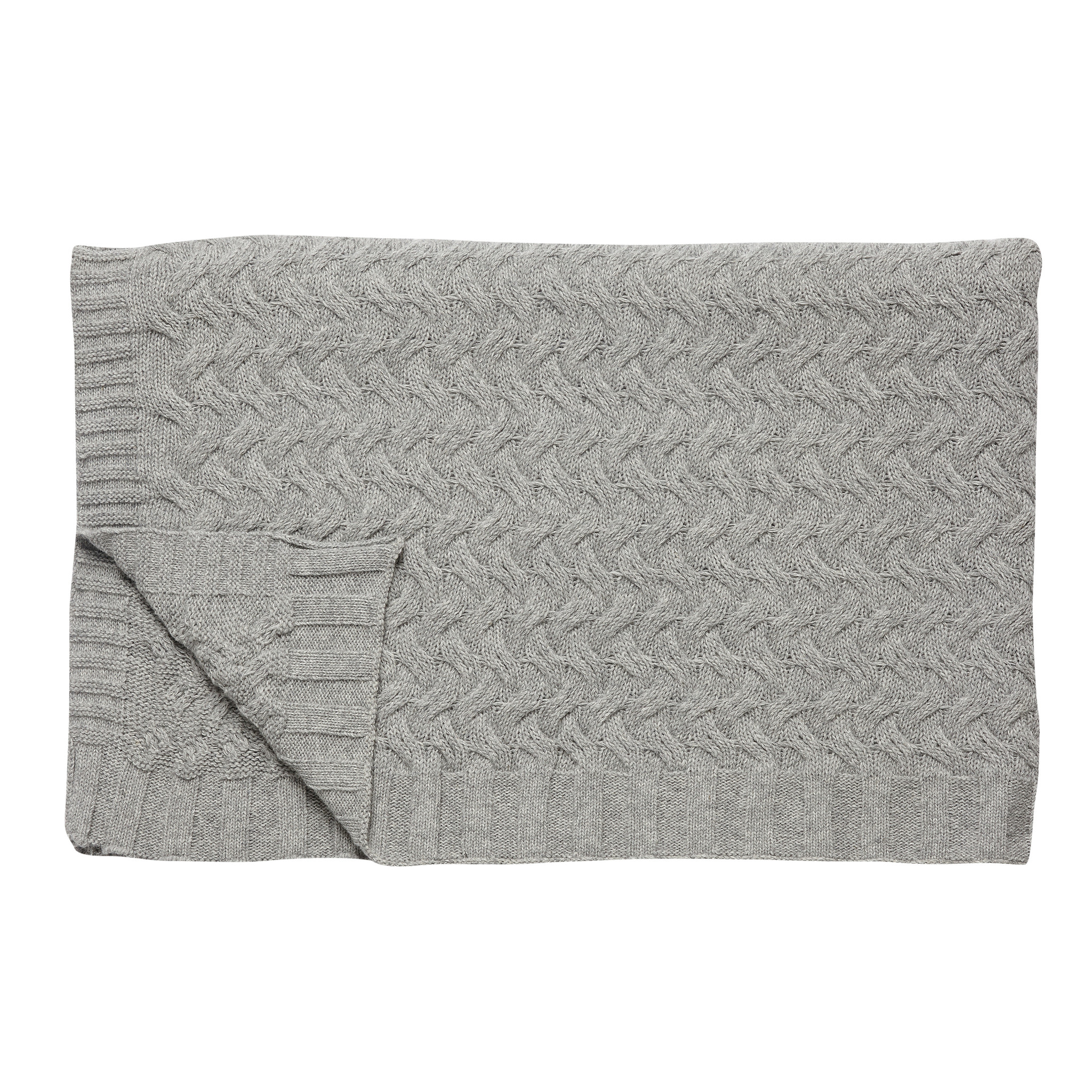 Hubsch Plaid met patroon, lamswol, grijs
