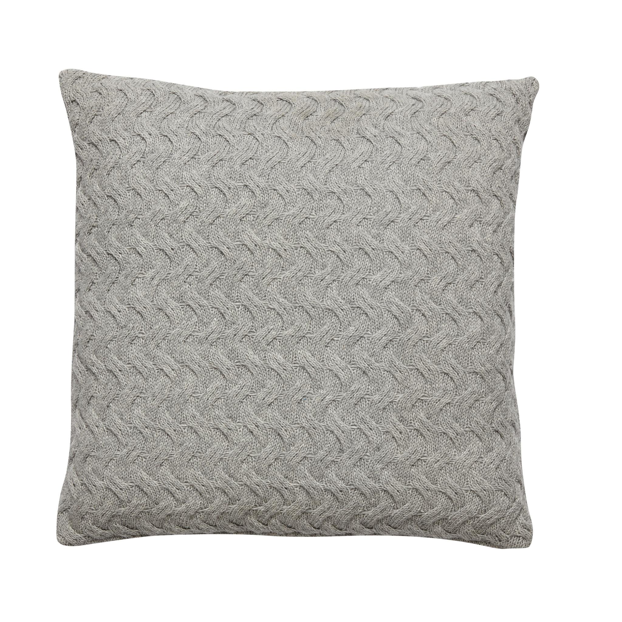 Hubsch Kussen met patroon, lamswol, grijs