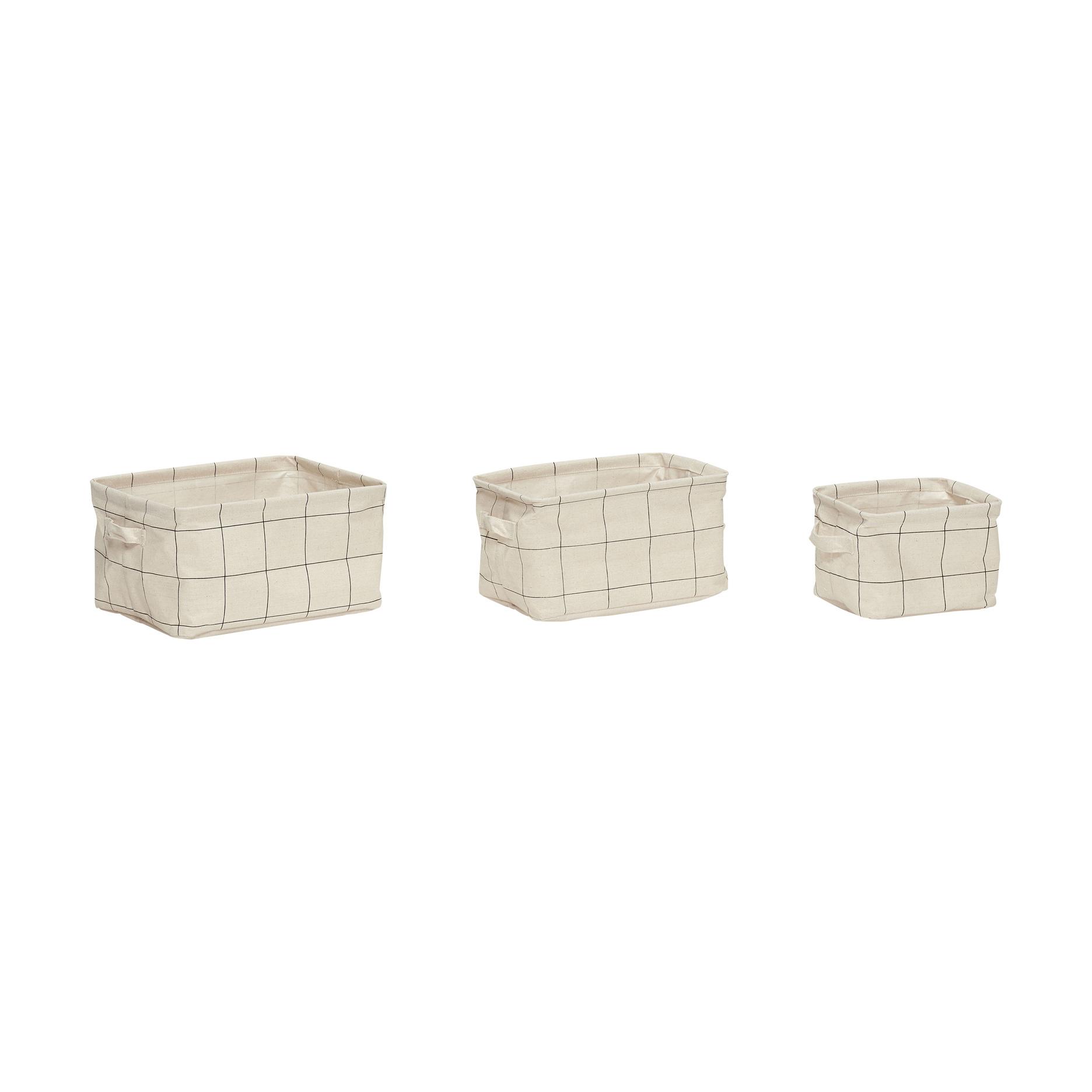 Hubsch Mand met patroon, handvat, vierkant, papier, grijset van wit, set van 3