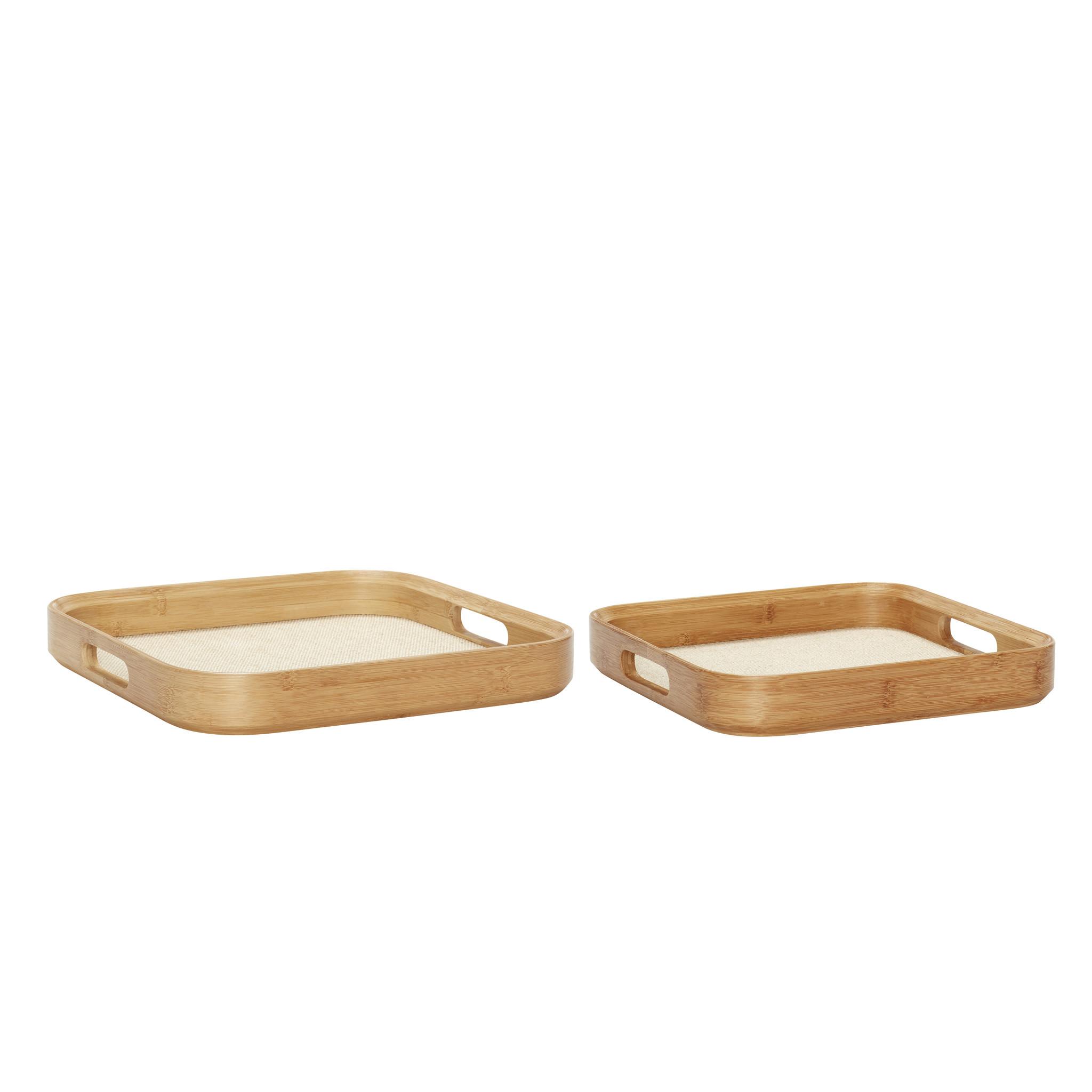 Hubsch Dienblad, vierkant, hout, set van 2-240503-5712772052297