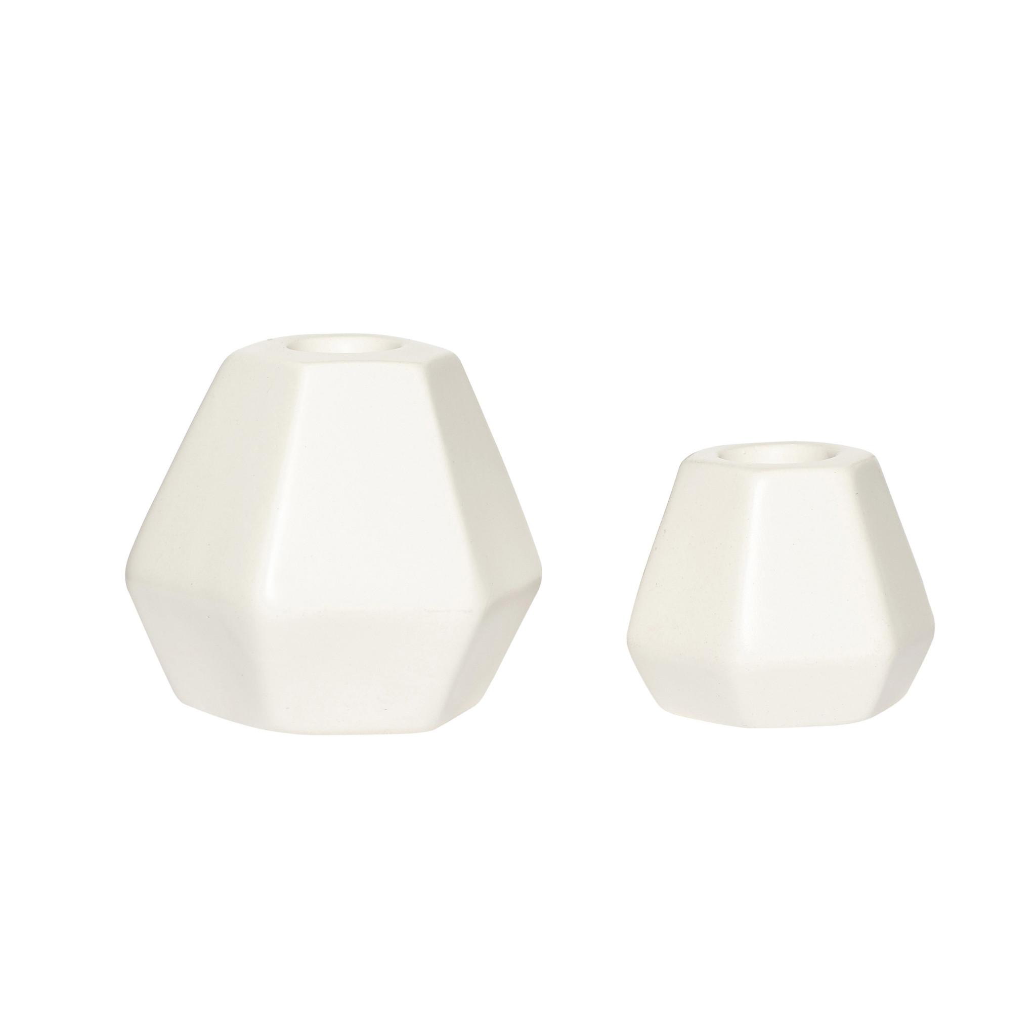 Hubsch Kandelaar, keramiek, wit, set van 2-250109-5712772067918