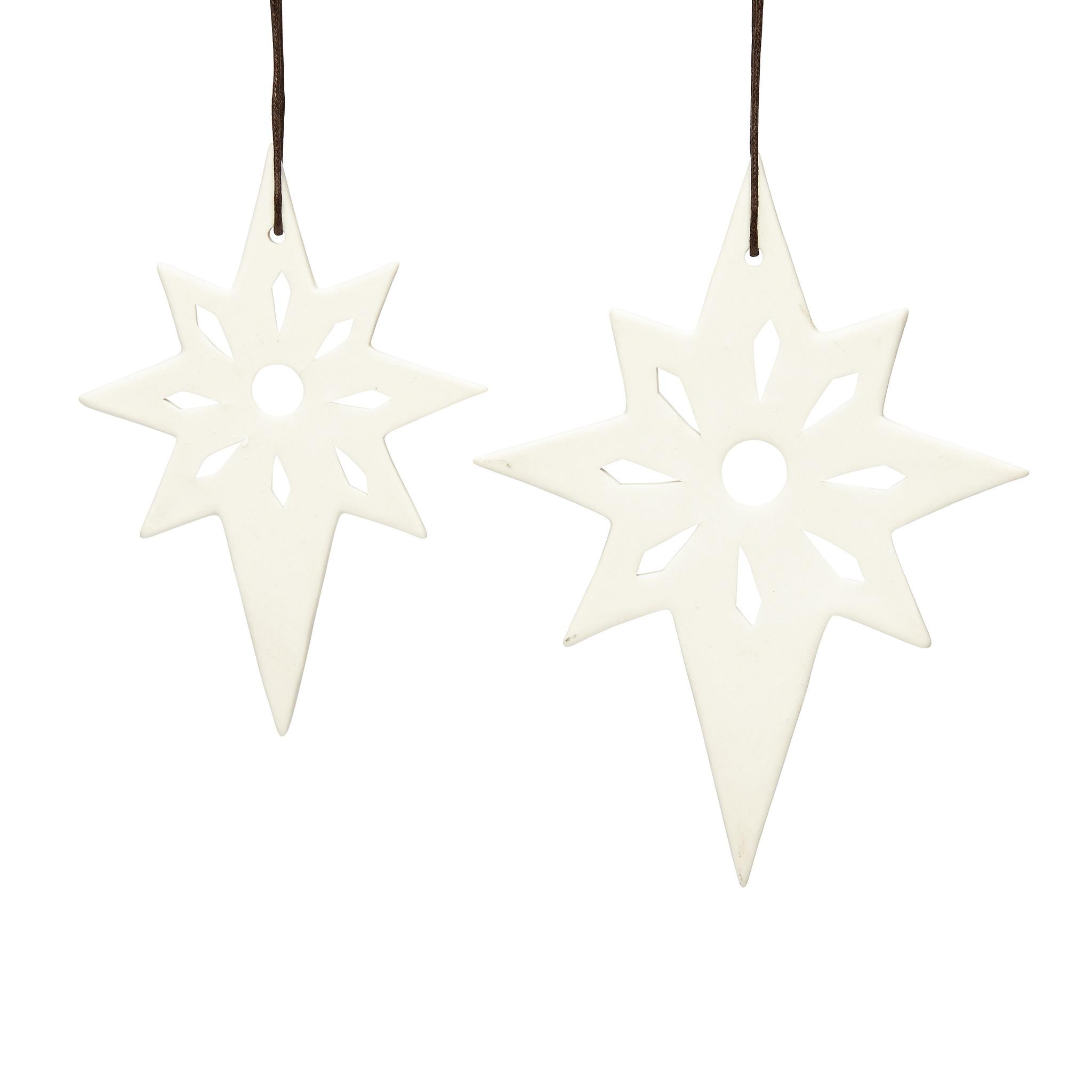 Hubsch Kerstster, keramiek, wit, set van 2-258023-5712772051870