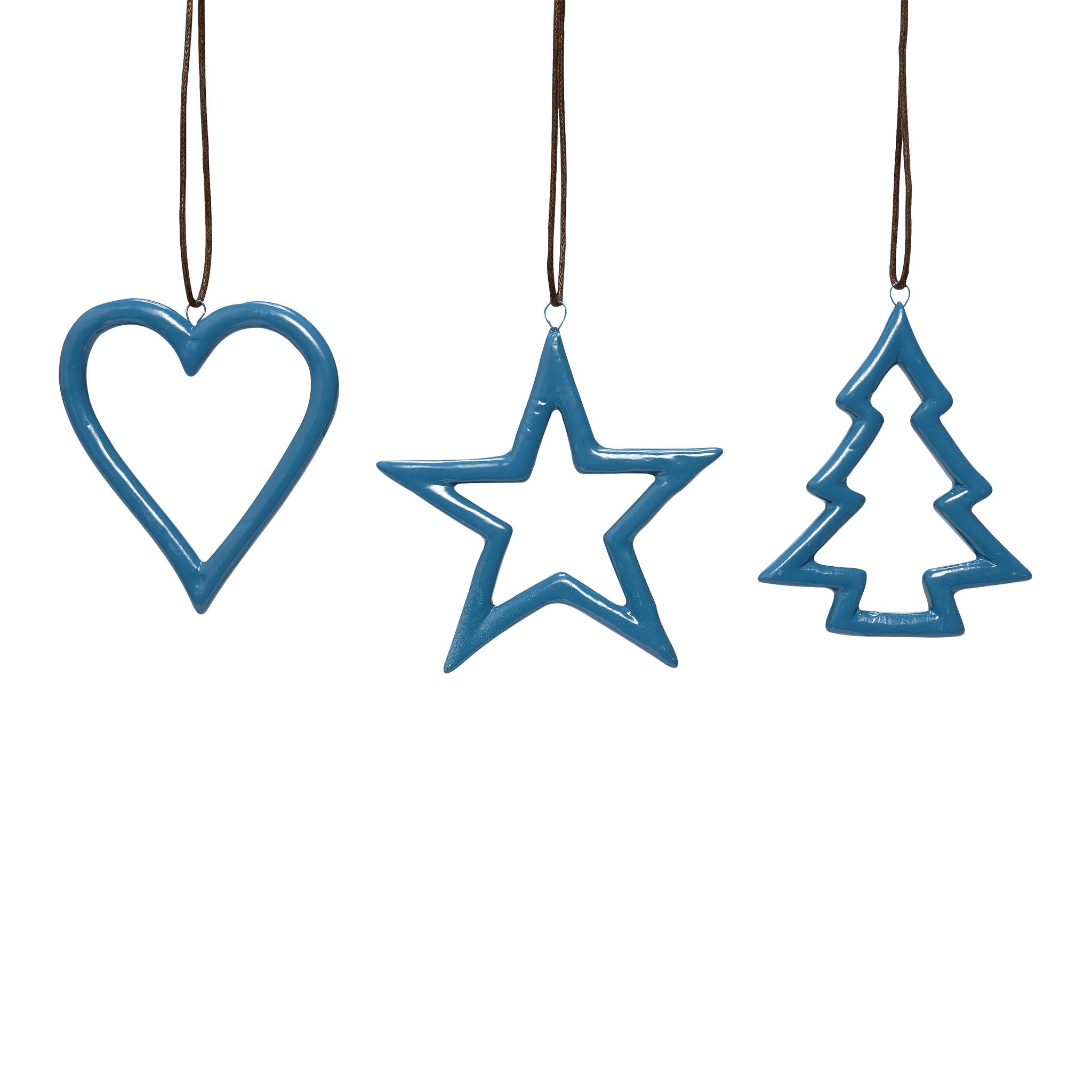 Hubsch Hart / ster / kerstboom, blauw, keramiek, set van 3-258026-5712772051887