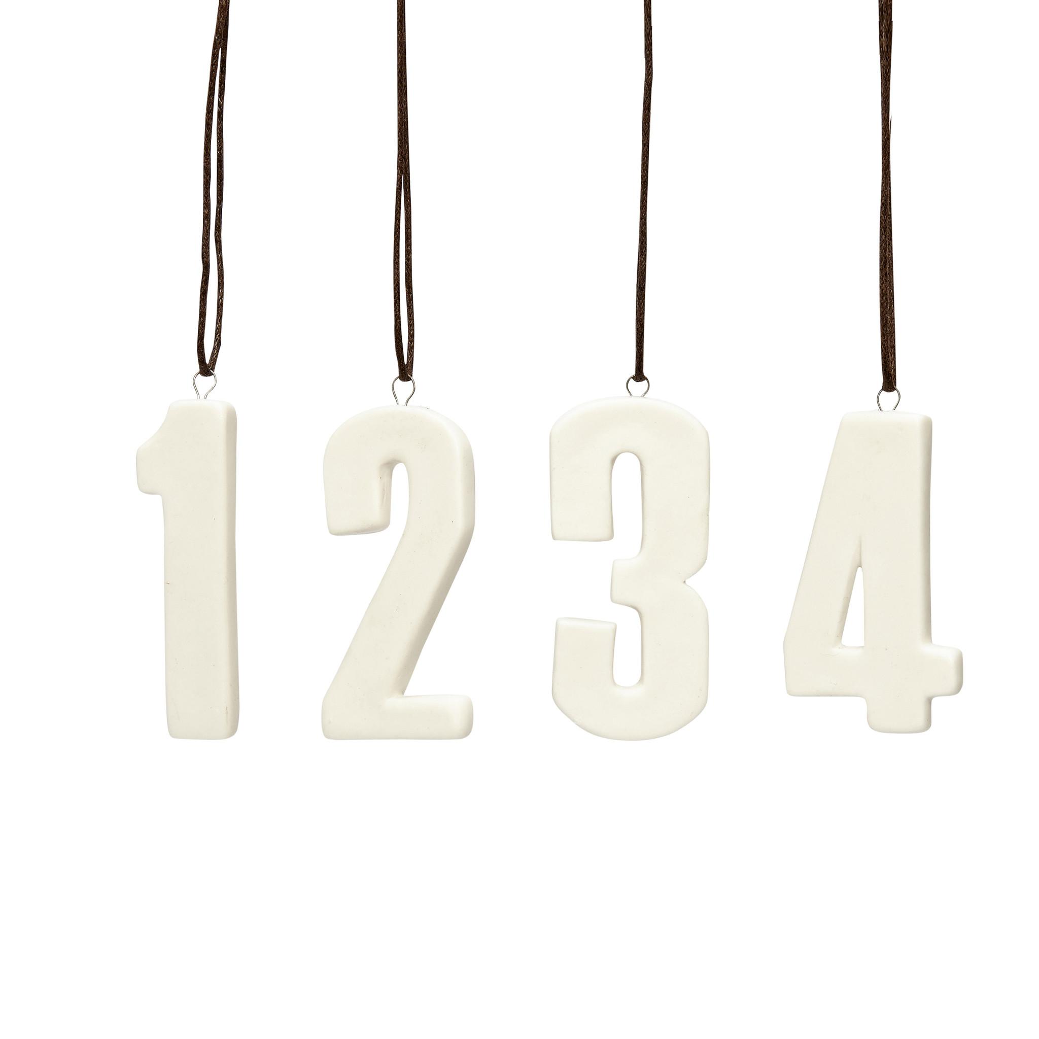 """Hubsch Nummers """"1,2,3,4"""", keramiek, wit, wit lint, set van 4-258041-5712772054628"""