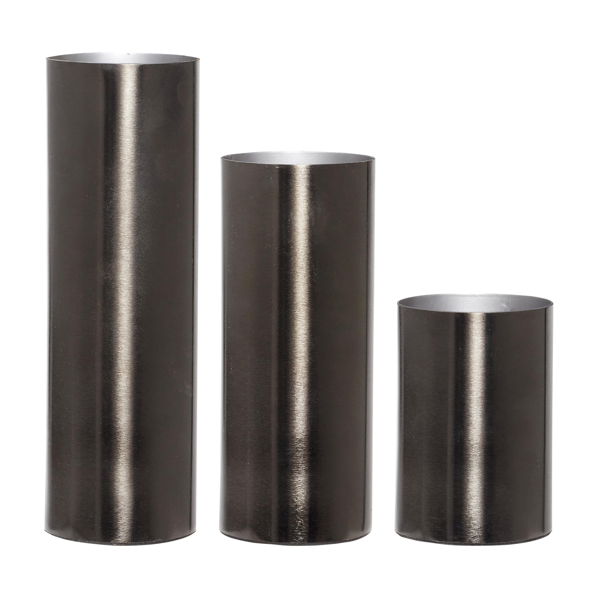 Hubsch Vaas, metaal, grijs, set van 3-270606-5712772038871