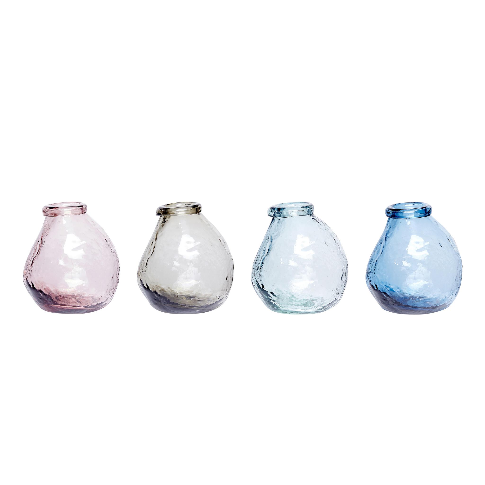 Hubsch Vaas, glas, rose / helder / blauw / grijs, set van 4-280301-5712772063606