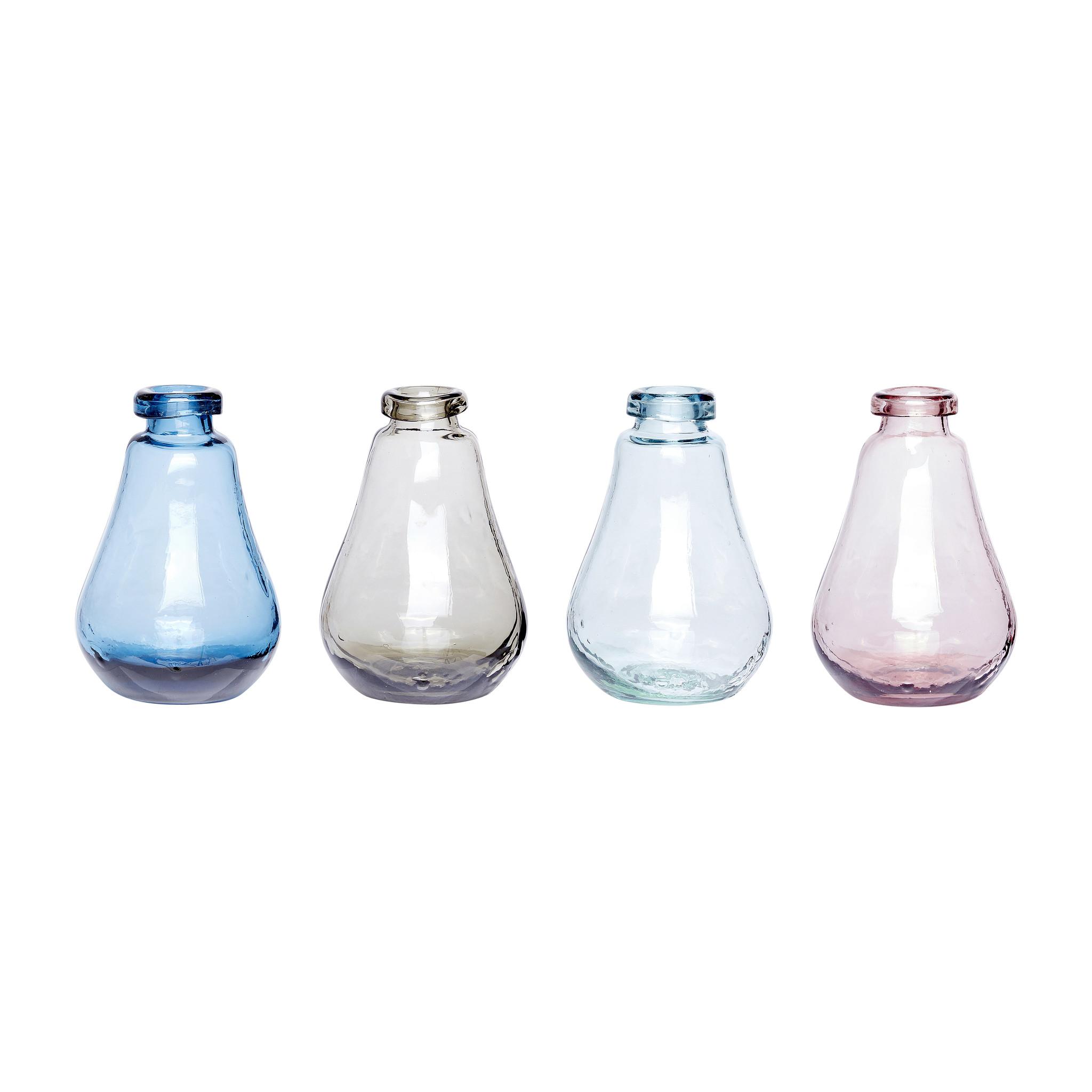 Hubsch Vaas, glas, rose / helder / blauw / grijs, set van 4-280302-5712772029619