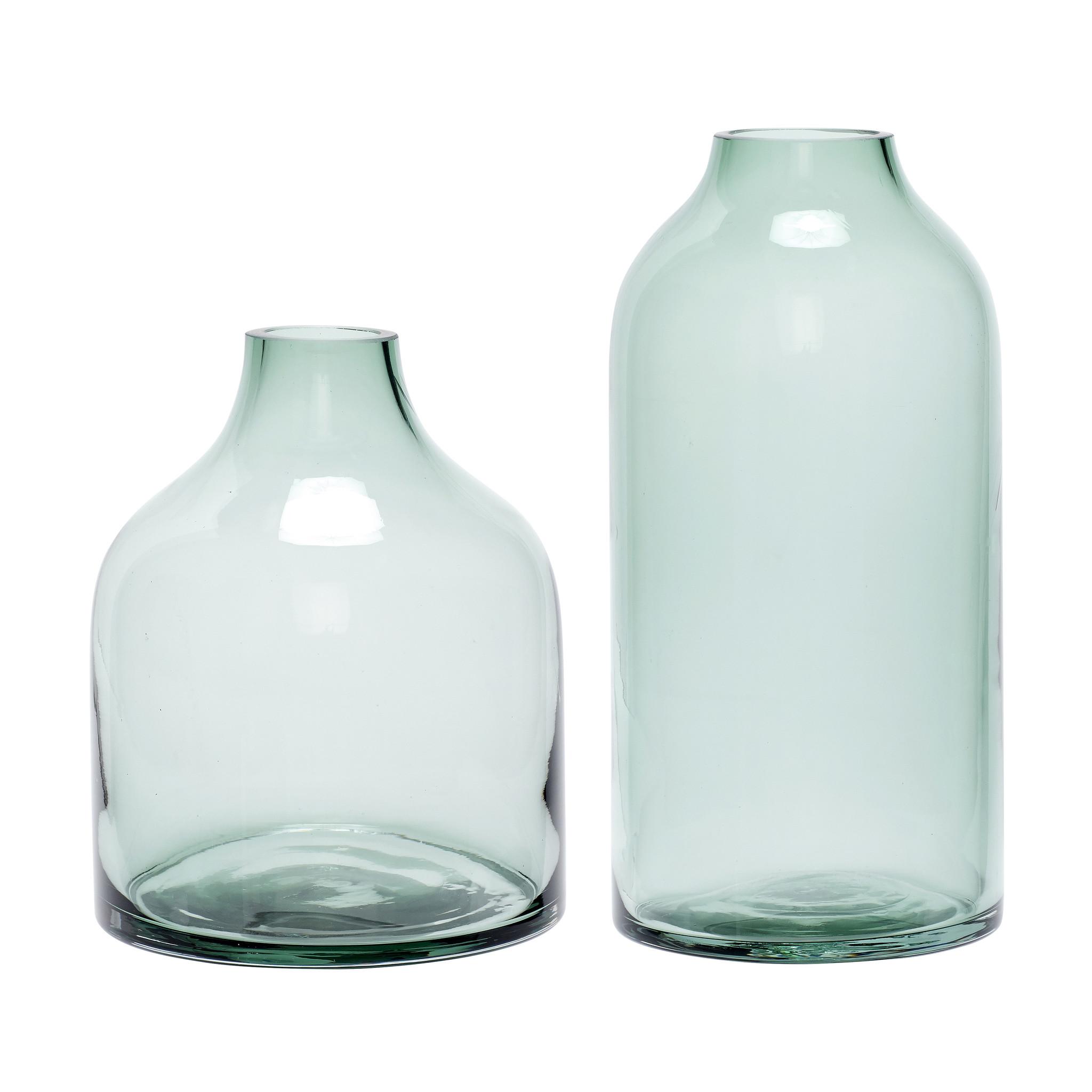 Hubsch Vaas, glas, groen, set van 2-280502-5712772056615