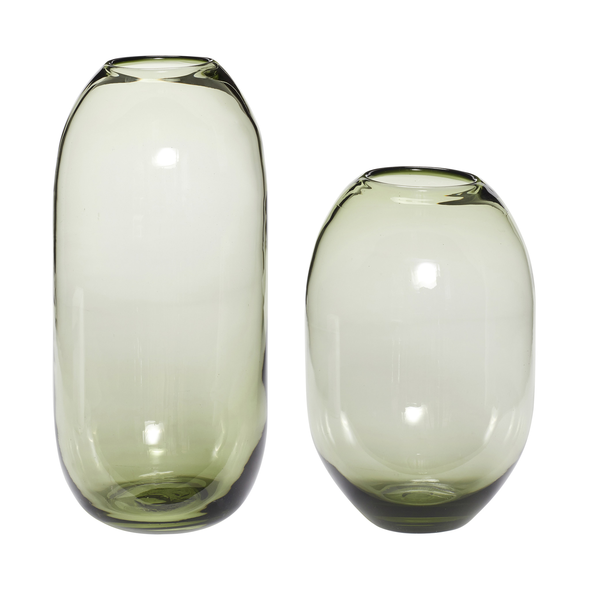 Hubsch Vaas, glas, groen, set van 2-280605-5712772061282